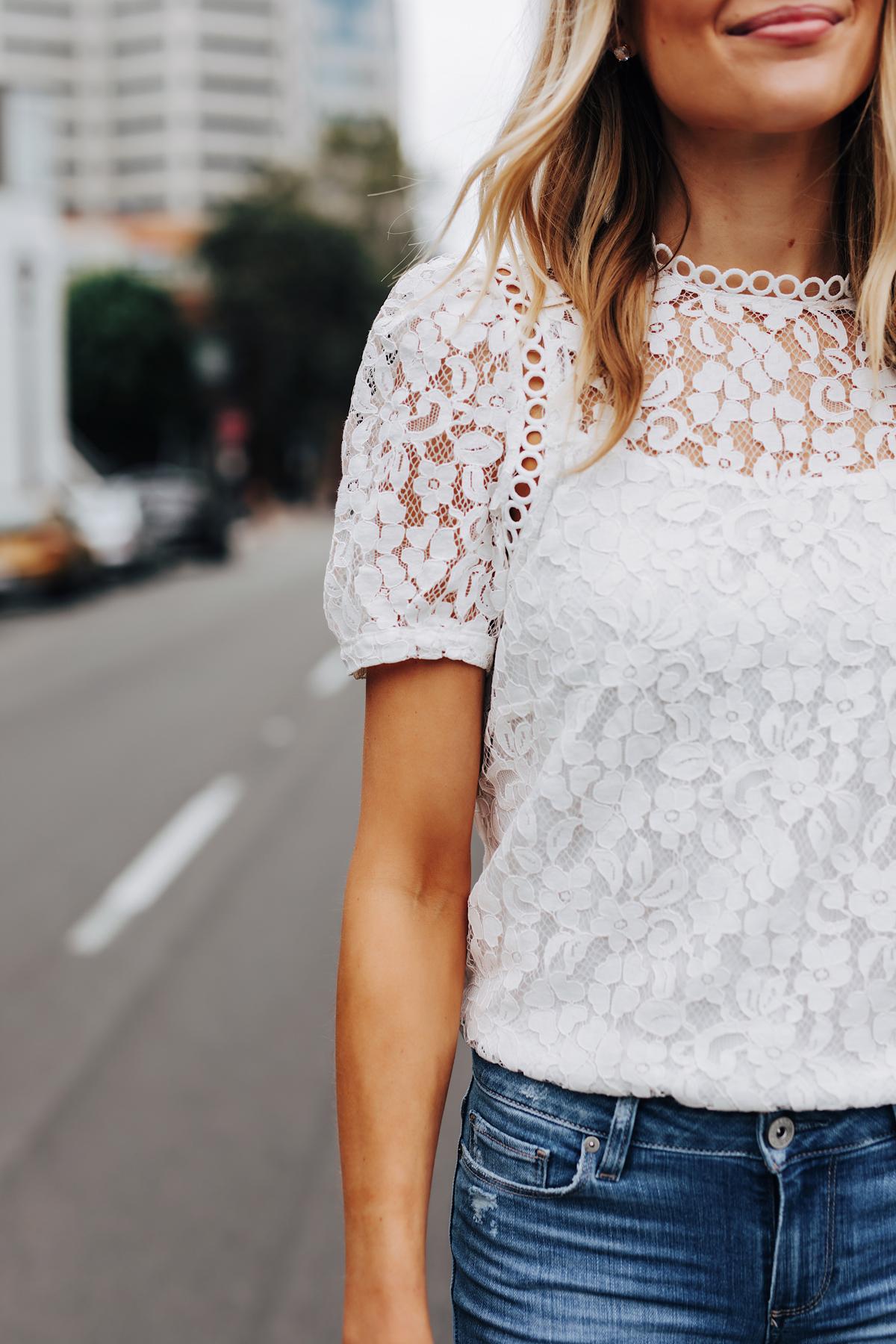 Fashion Jackson Wearing Bloomingdales Short Sleeve White Lace