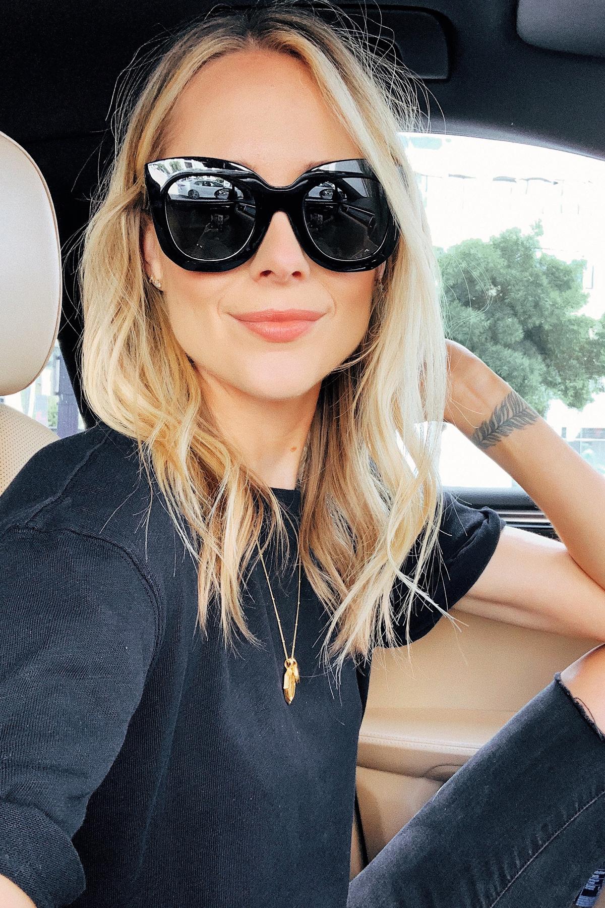 Fashion Jackson Wearing Celine Black Cat Eye Sunglasses