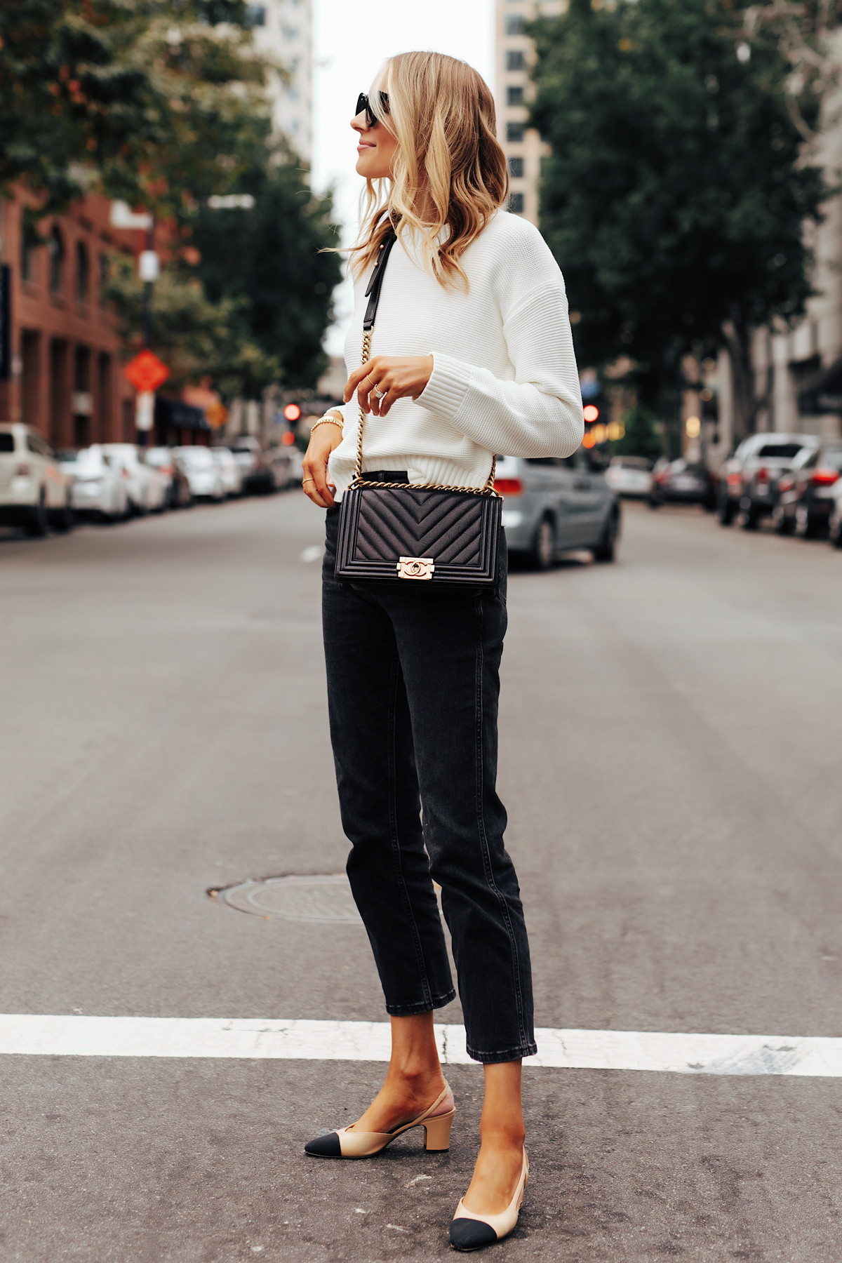 Fashion Jackson Wearing Everlane White Crewneck Sweater Everlane Black Cropped Jeans Chanel Slingbacks Chanel Black Boy Bag 1