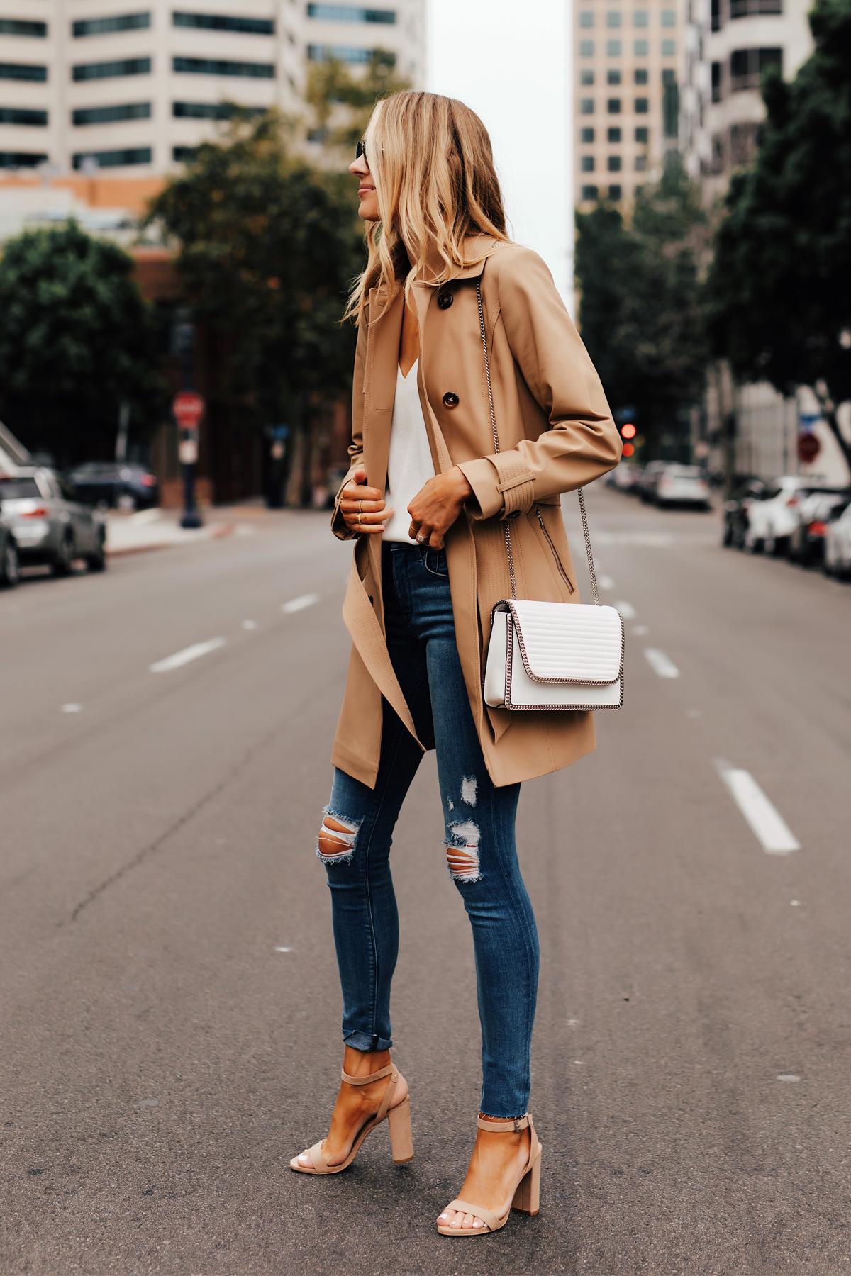 Fashion Jackson Wearing Express Tan Trench Coat White Tank Express Ripped Skinny Jeans White Handbag Tan Ankle Strap Heeled Sandals