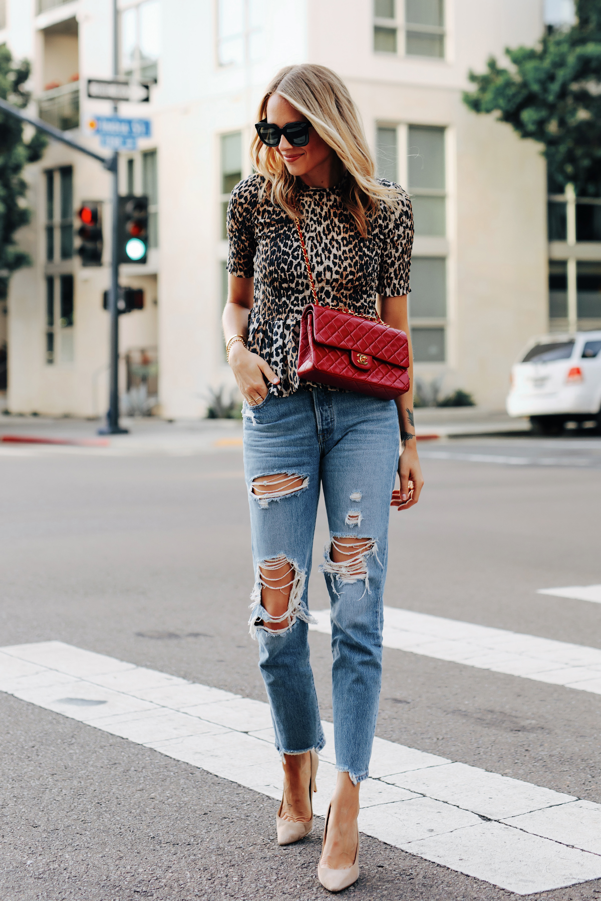 Fashion Jackson Wearing Ganni Leopard Peplum Top Levis Ripped Jeans Jimmy Choo BB Nude Pumps Chanel Classic Flap Red Handbag 2
