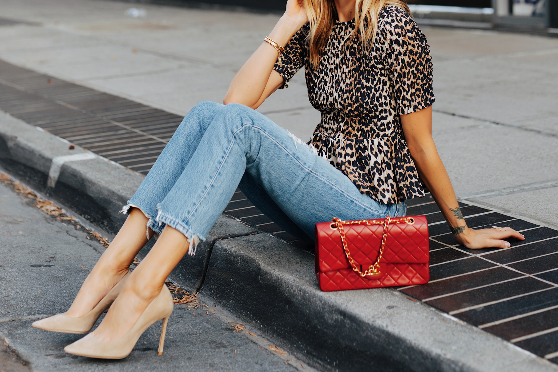 Fashion Jackson Wearing Ganni Leopard Peplum Top Levis Ripped Jeans Jimmy Choo BB Nude Pumps Chanel Classic Flap Red Handbag 3