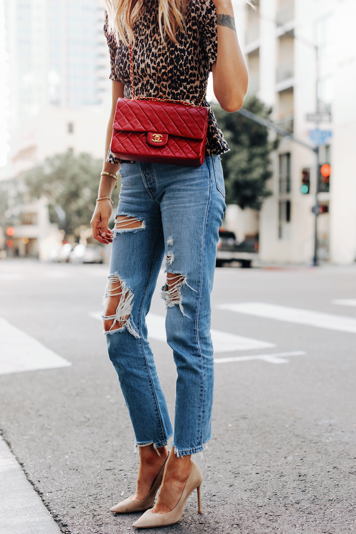Fashion Jackson Wearing Ganni Leopard Peplum Top Levis Ripped Jeans Jimmy Choo BB Nude Pumps Chanel Classic Flap Red Handbag
