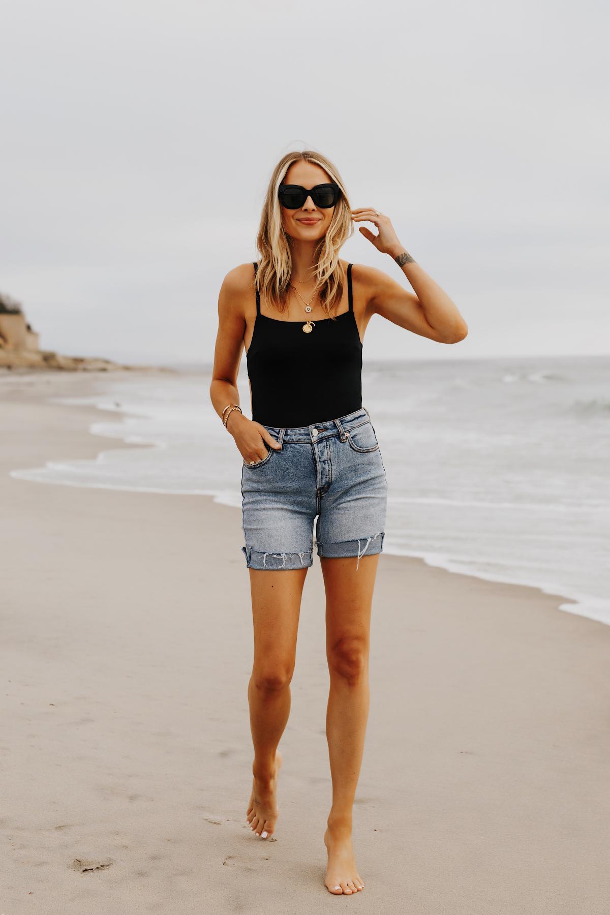Fashion Jackson Wearing L Space Black One Piece Swimsuit Free People Long Denim Shorts San Diego Beach Weekend