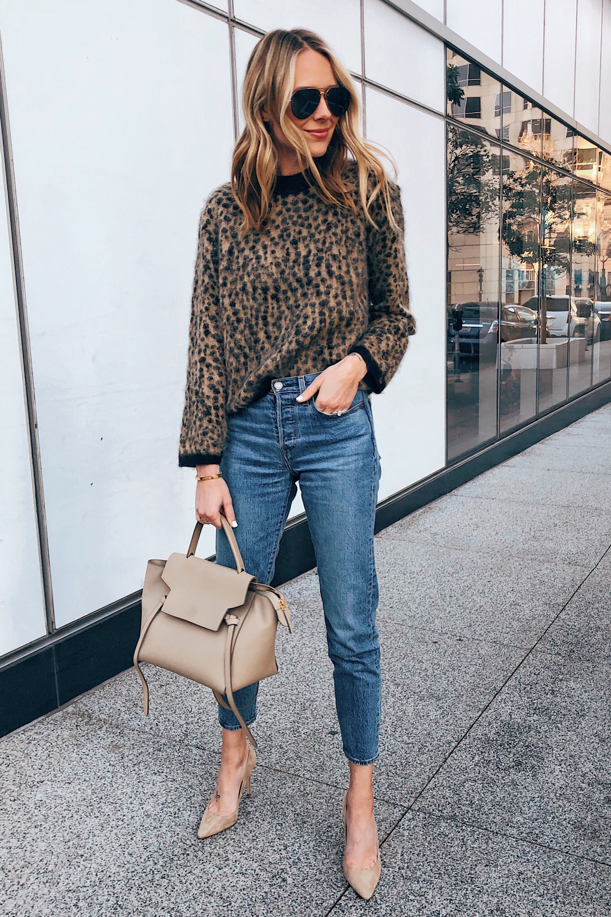 Fashion Jackson Wearing Leopard Sweater Levis Jeans Nude Pumps Celine Mini Belt Bag