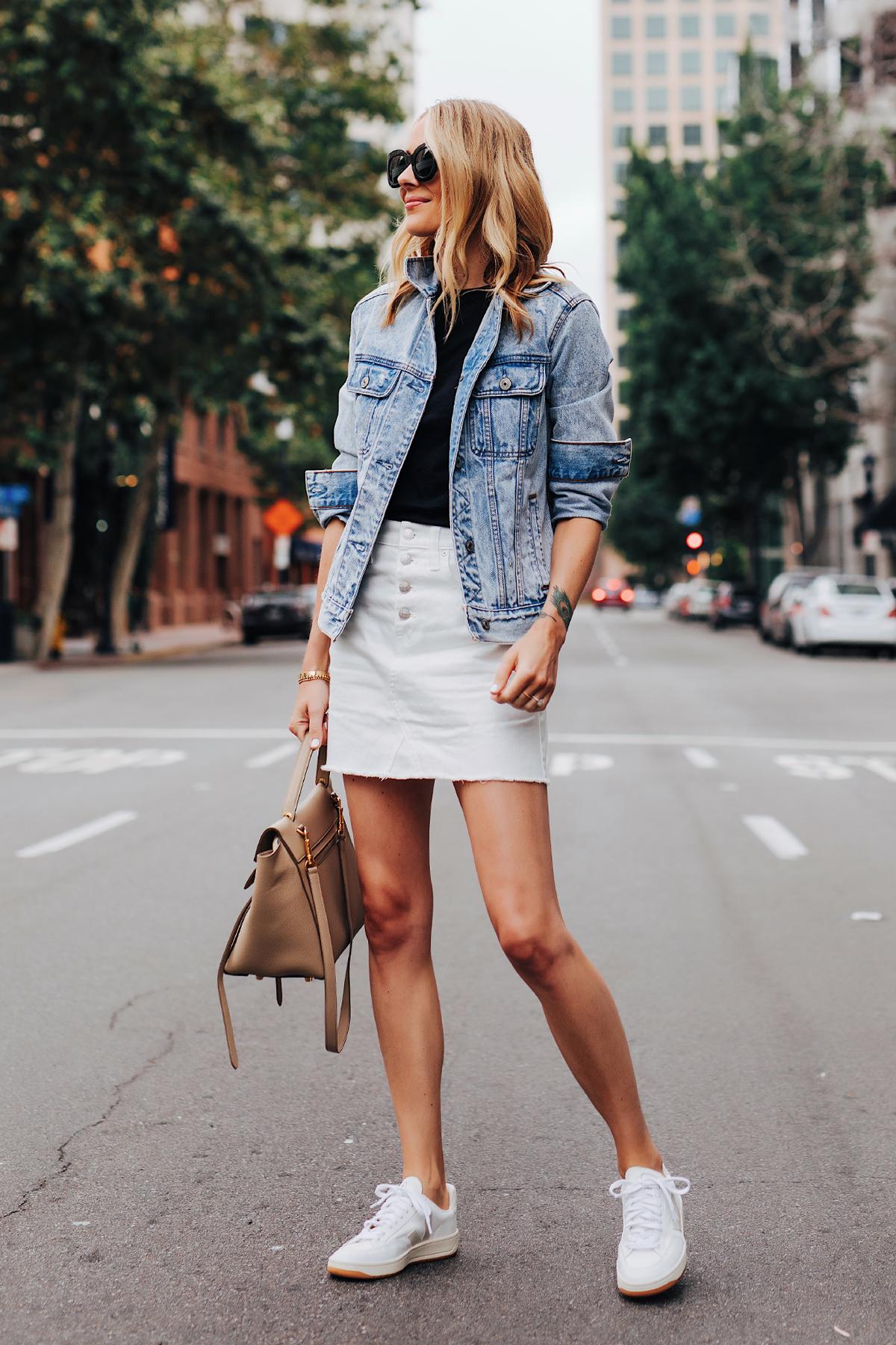 Fashion Jackson Wearing Oversized Denim Jacket Black T-Shirt Madewell White Denim Skirt Veja V-12 White Sneakers Celine Belt Bag
