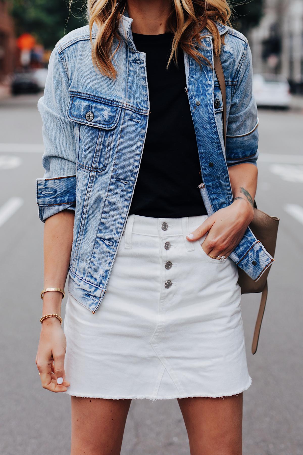 Fashion Jackson Wearing Oversized Denim Jacket Black T-Shirt White Denim Skirt