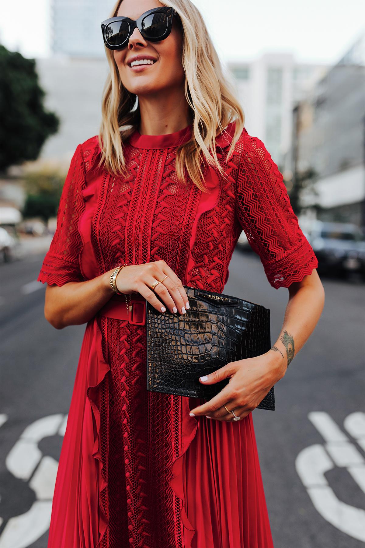 Fashion Jackson Wearing Self Portrait Red Short Sleeve Lace Midi Dress Givenchy Small Croc Black Clutch 1