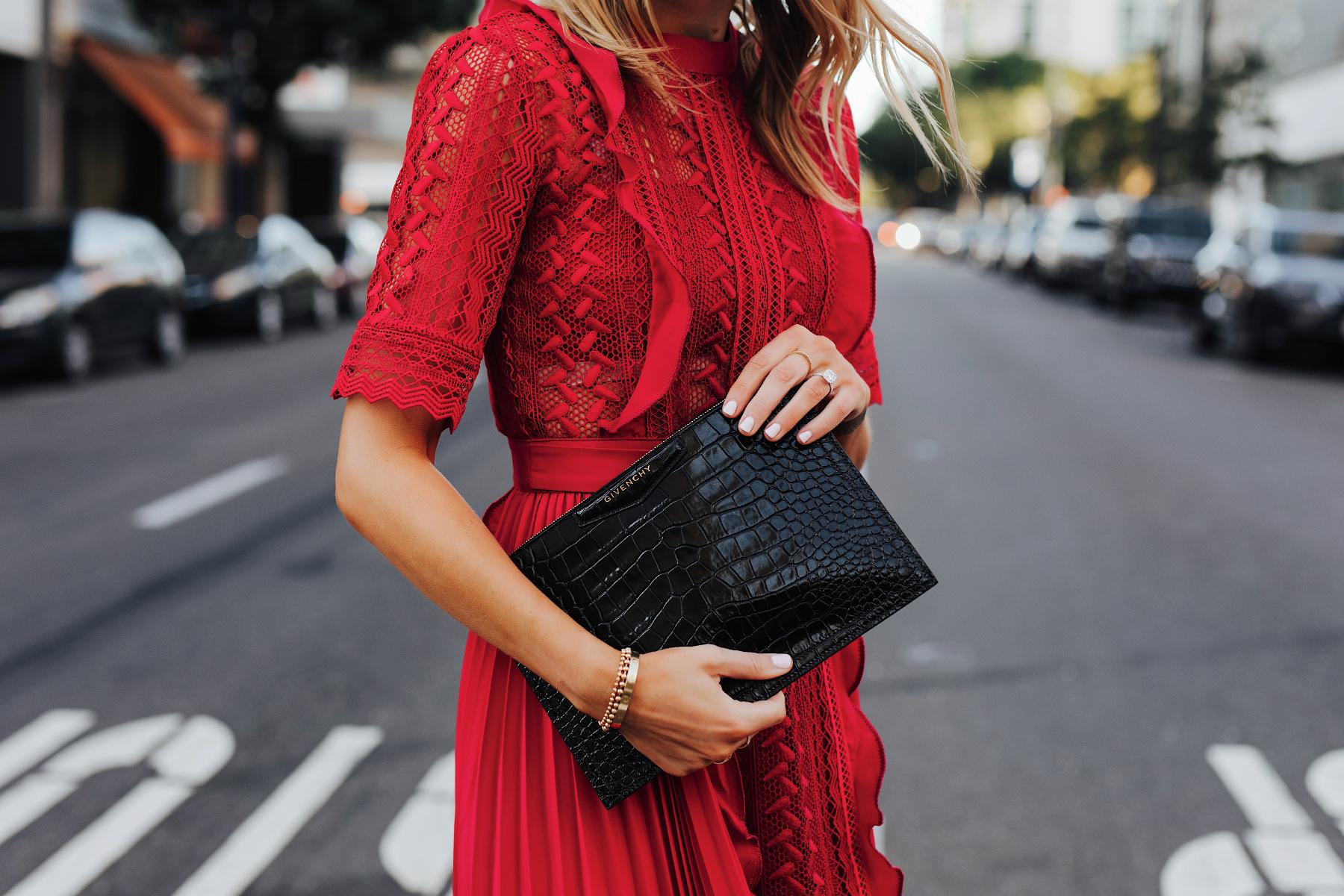 Fashion Jackson Wearing Self Portrait Red Short Sleeve Lace Midi Dress Givenchy Small Croc Black Clutch 2