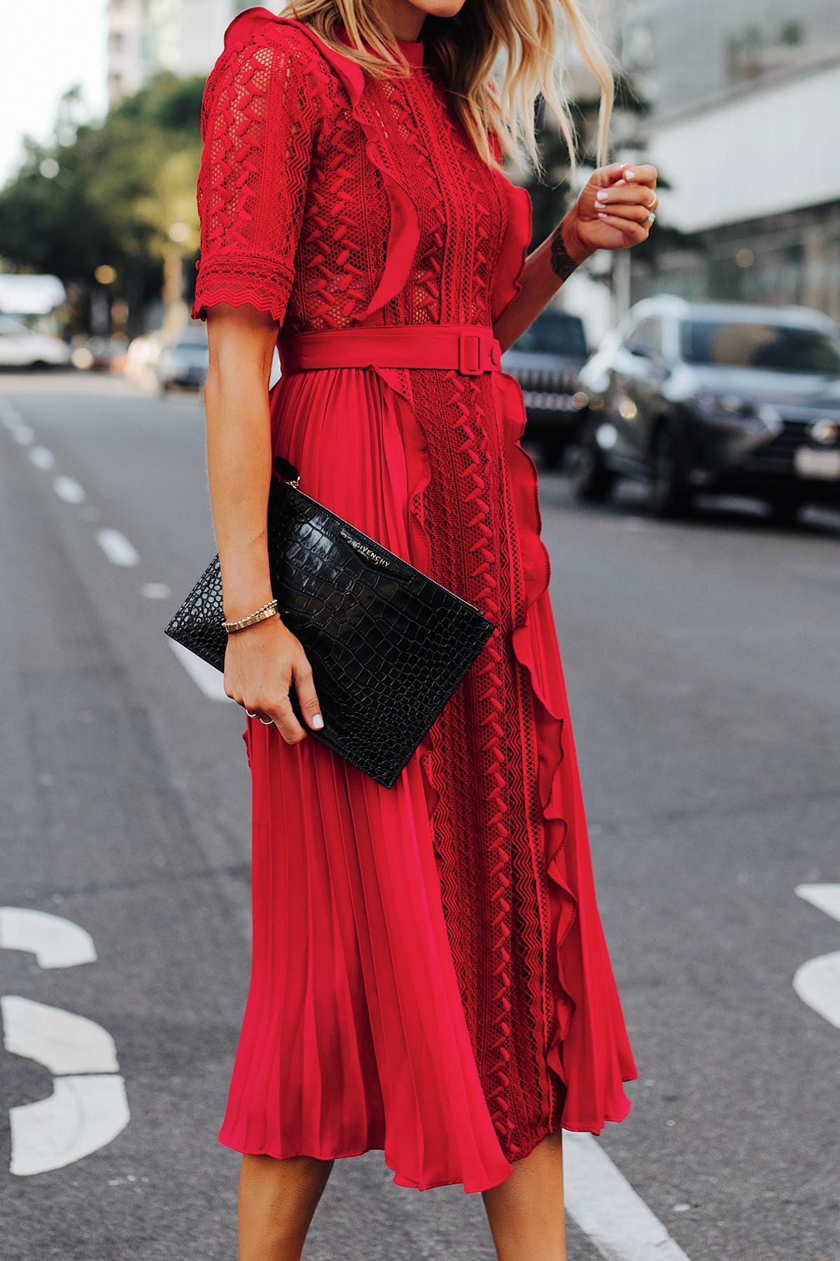 Fashion Jackson Wearing Self Portrait Red Short Sleeve Lace Midi Dress Givenchy Small Croc Black Clutch 3