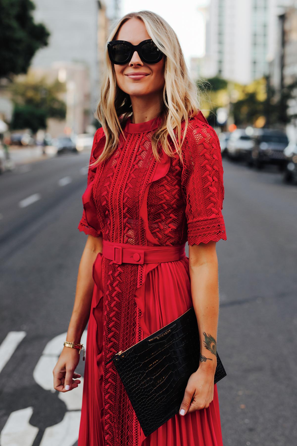 Fashion Jackson Wearing Self Portrait Red Short Sleeve Lace Midi Dress Givenchy Small Croc Black Clutch