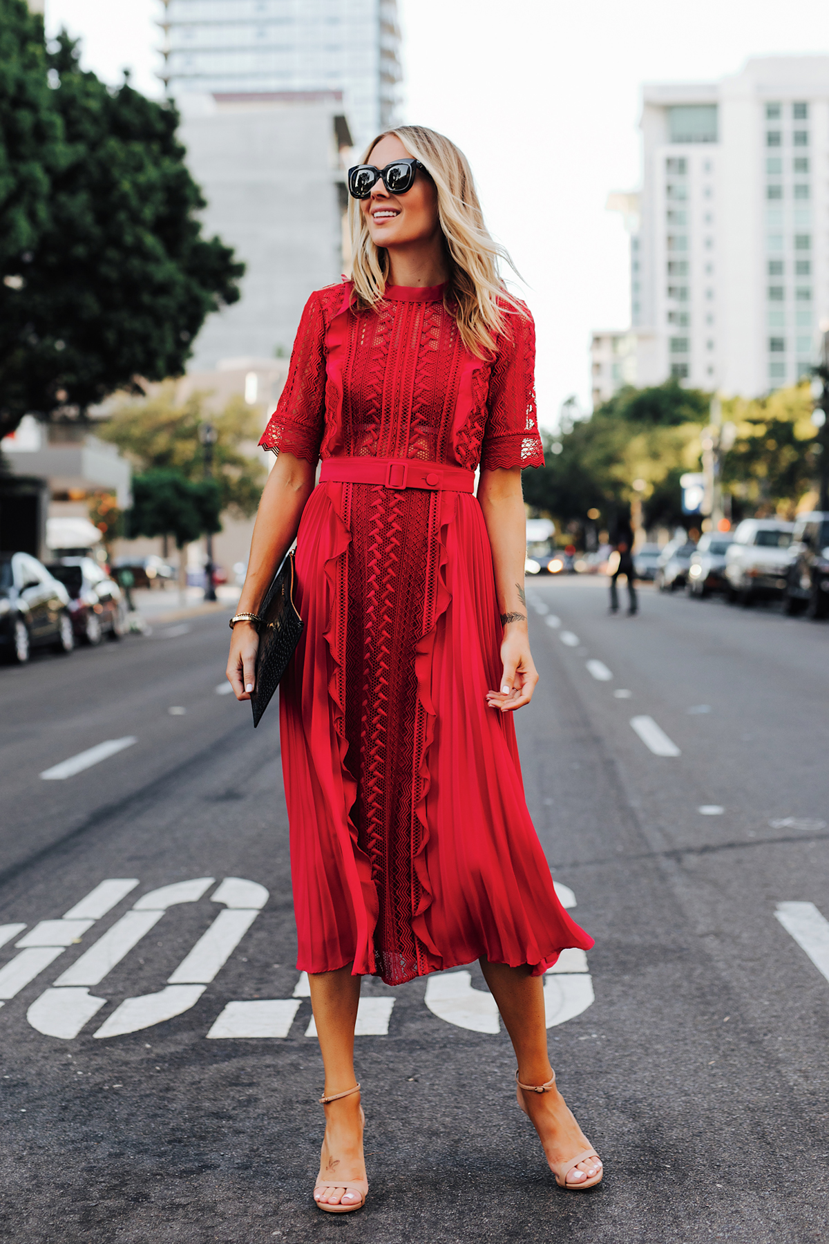 Fashion Jackson Wearing Self Portrait Red Short Sleeve Lace Midi Dress Nude Ankle Strap Heeled Sandals 1