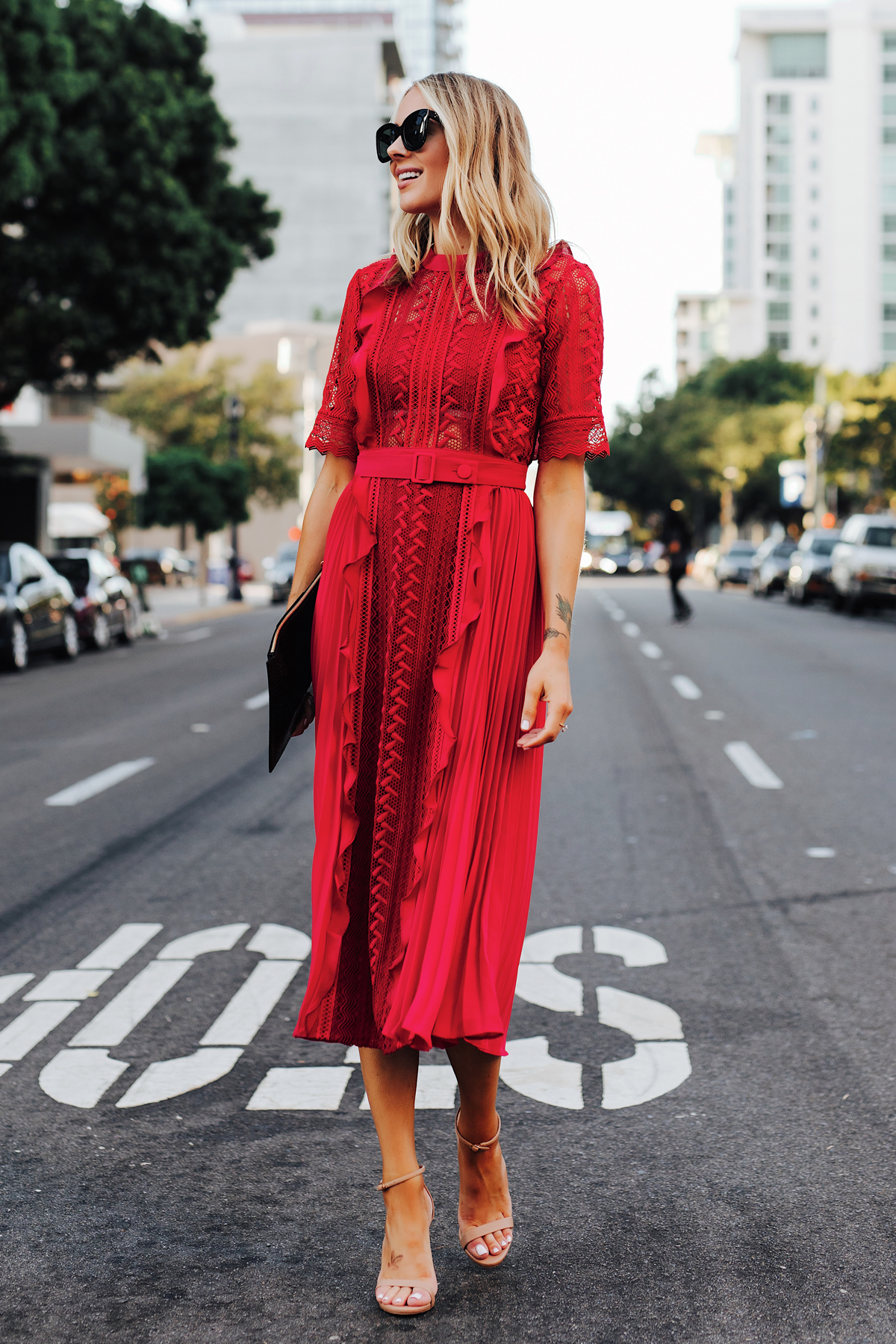 Fashion Jackson Wearing Self Portrait Red Short Sleeve Lace Midi Dress Nude Ankle Strap Heeled Sandals