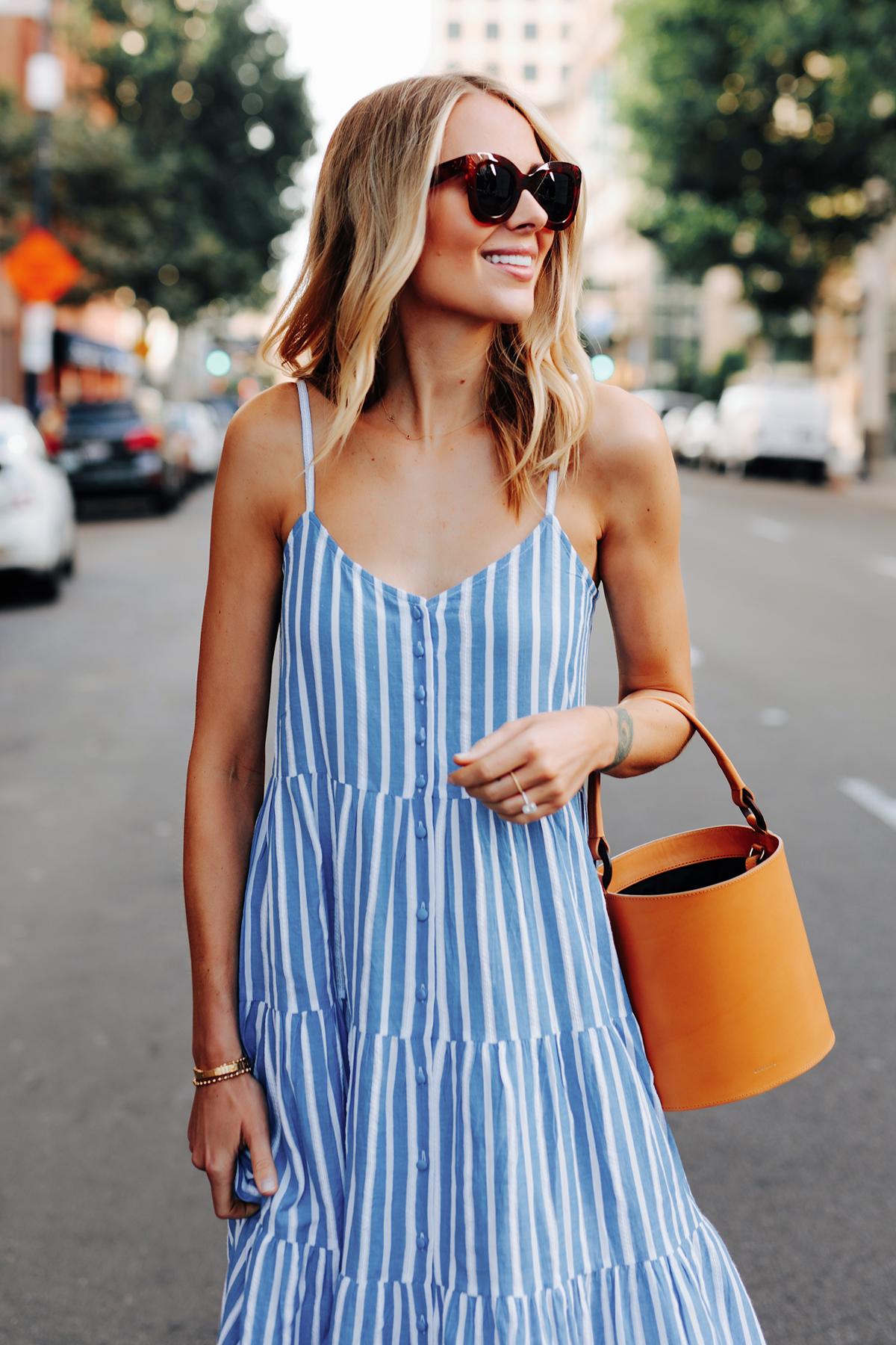 Fashion Jackson Wearing Sezane Blue White Stripe Maxi Dress Cognac Bucket Bag