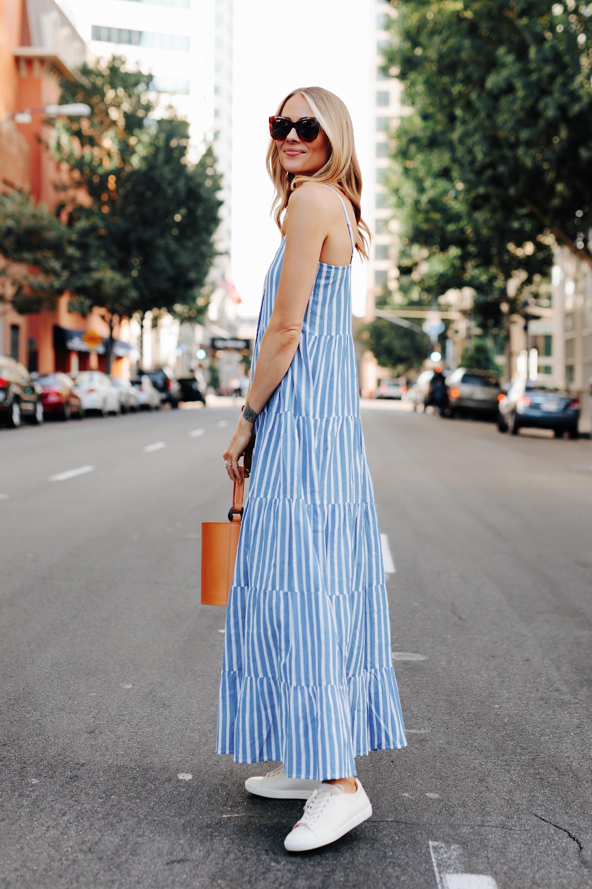 Fashion Jackson Wearing Sezane Blue White Stripe Maxi Dress White Sneakers Cognac Bucket Bag 5
