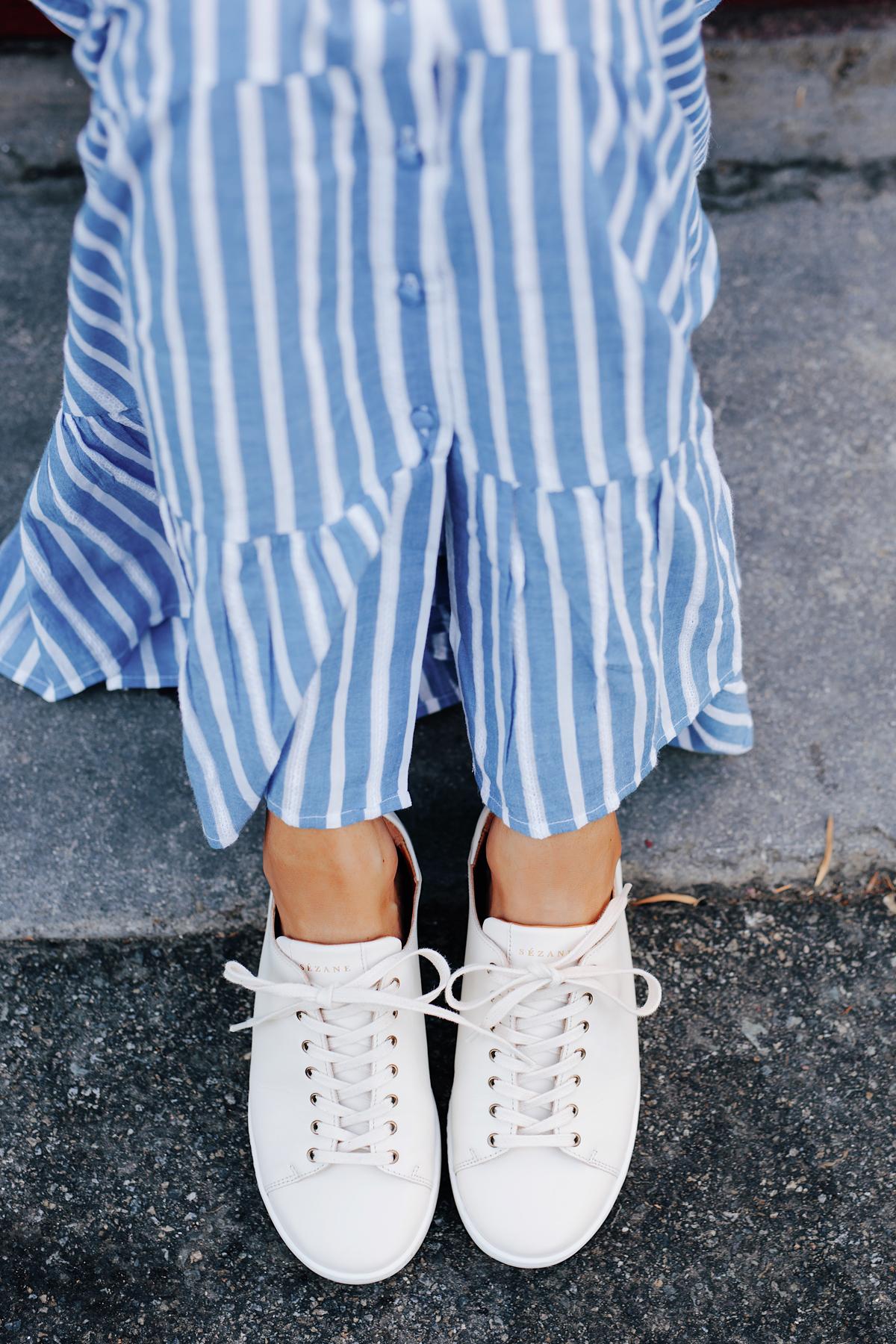 Fashion Jackson Wearing Sezane White Sneakers Blue White Stripe Maxi Dress