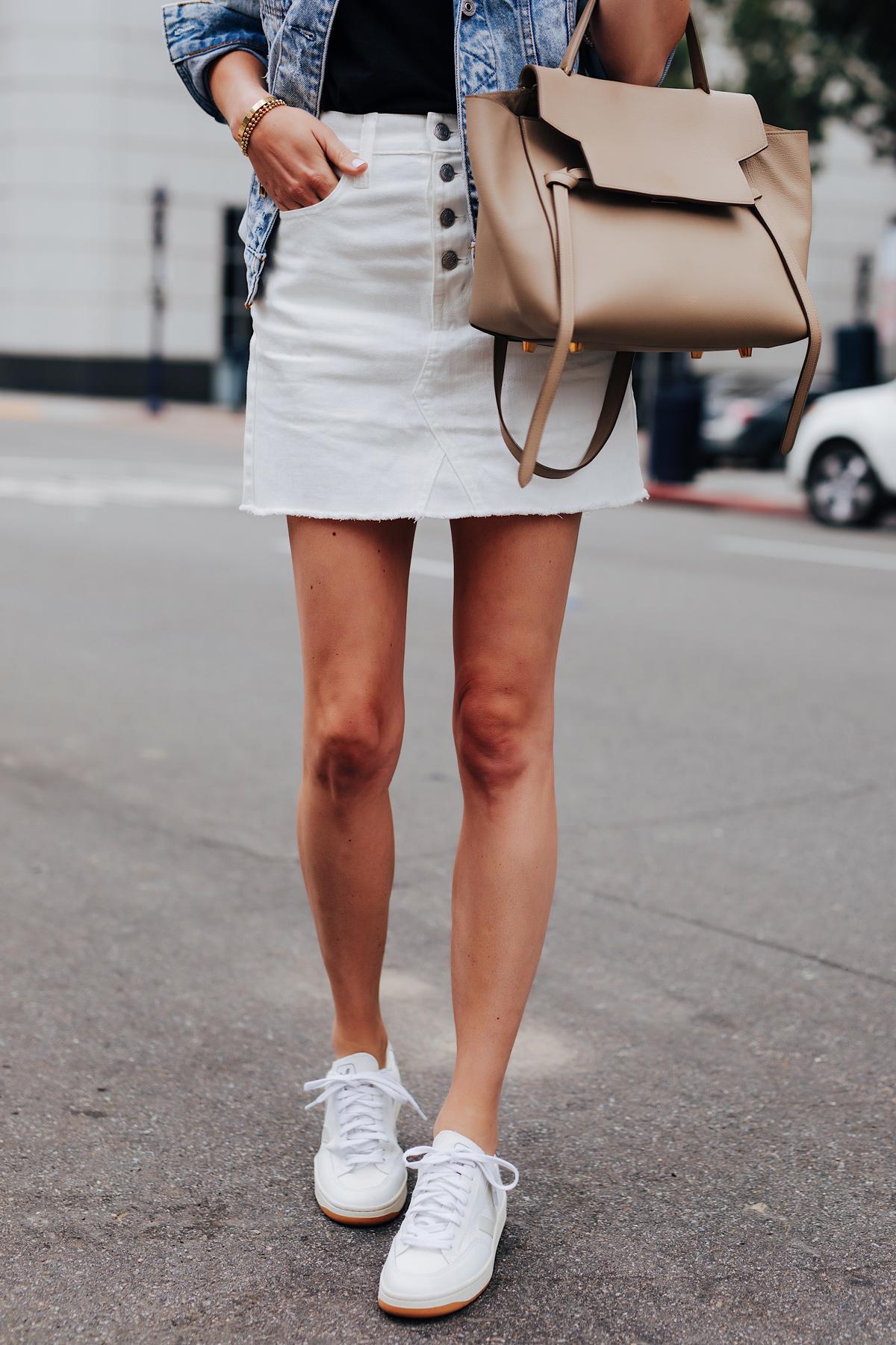 Fashion Jackson Wearing White Denim Skirt Veja V-12 White Sneakers Celine Mini Belt Bag Denim Jacket