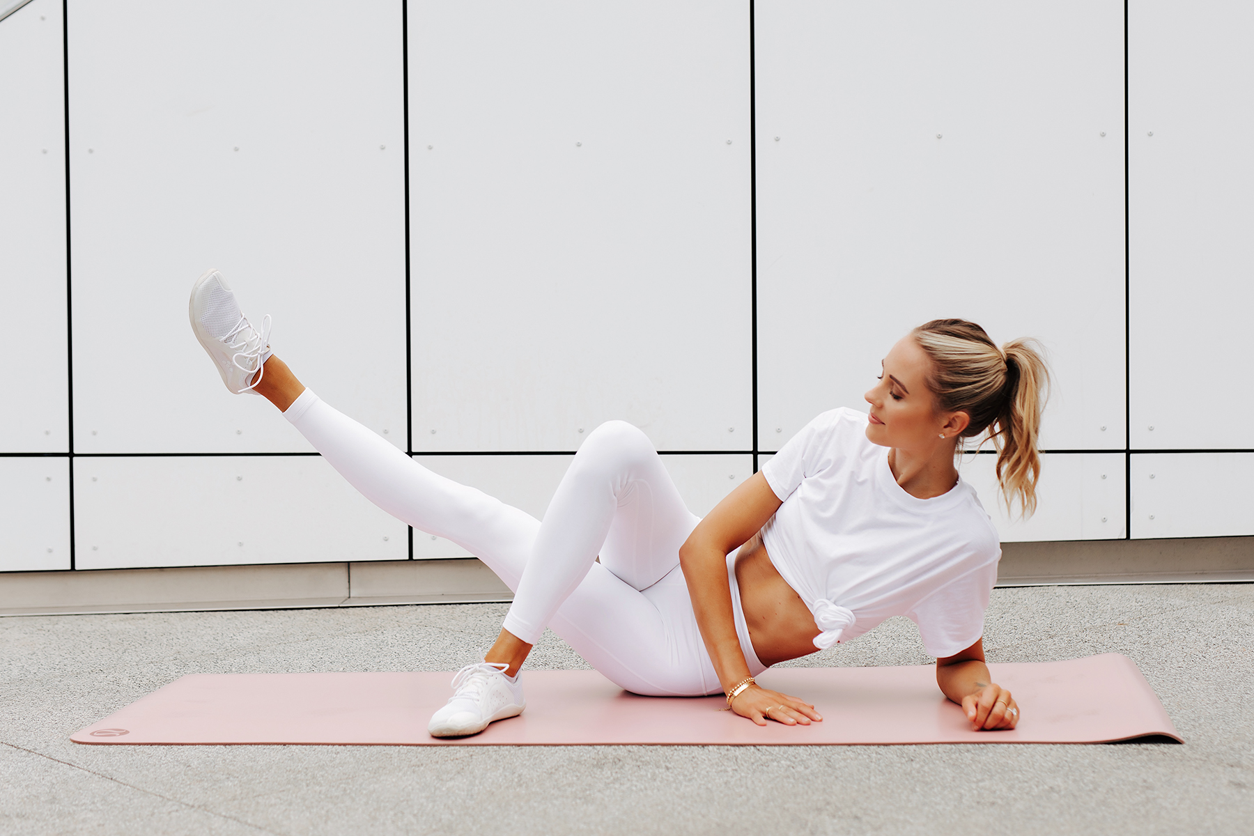 Fashion Jackson Wearing lululemon White Tshirt lululemon White Align Leggings White Sneakers Side Lying Hip Adduction Position 2 Simple Ab Exercise