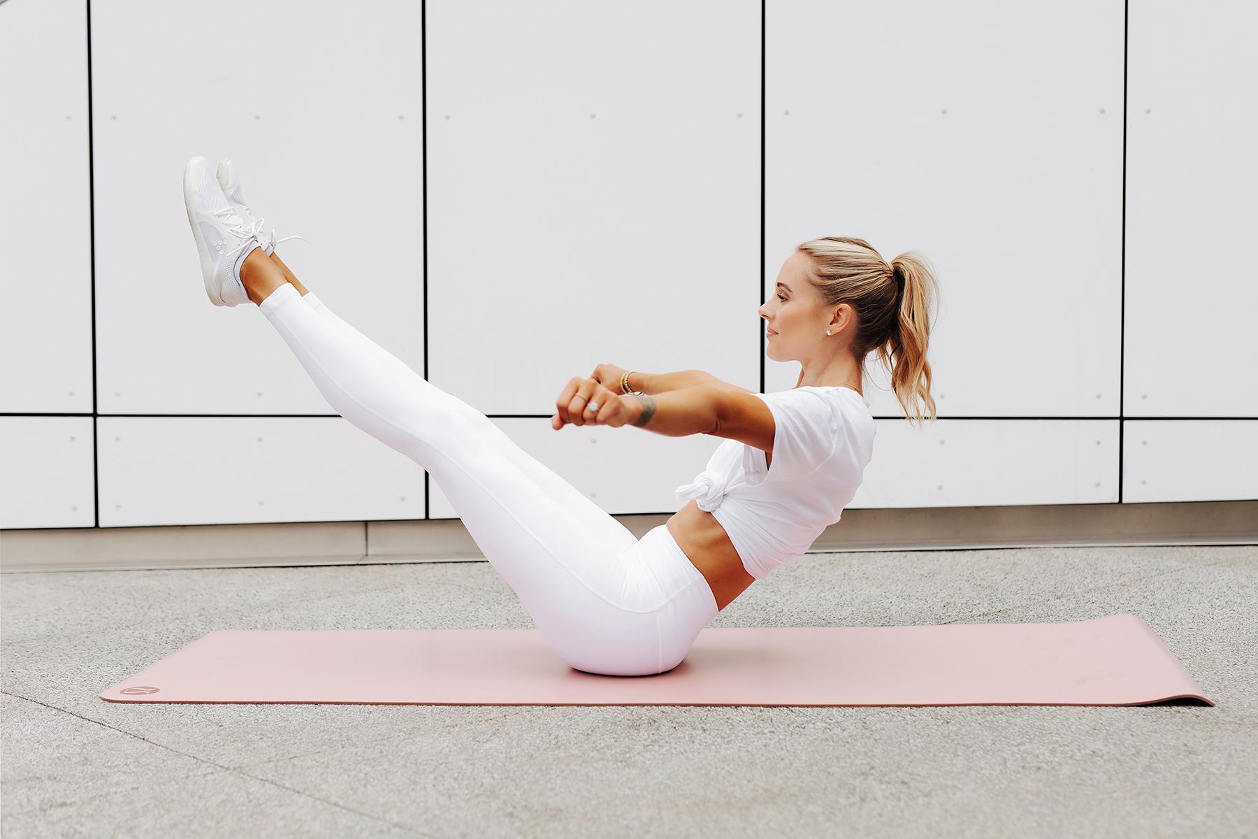 Fashion Jackson Wearing lululemon White Tshirt lululemon White Align Leggings White Sneakers V-Sit Hold Position Simple Ab Exercise