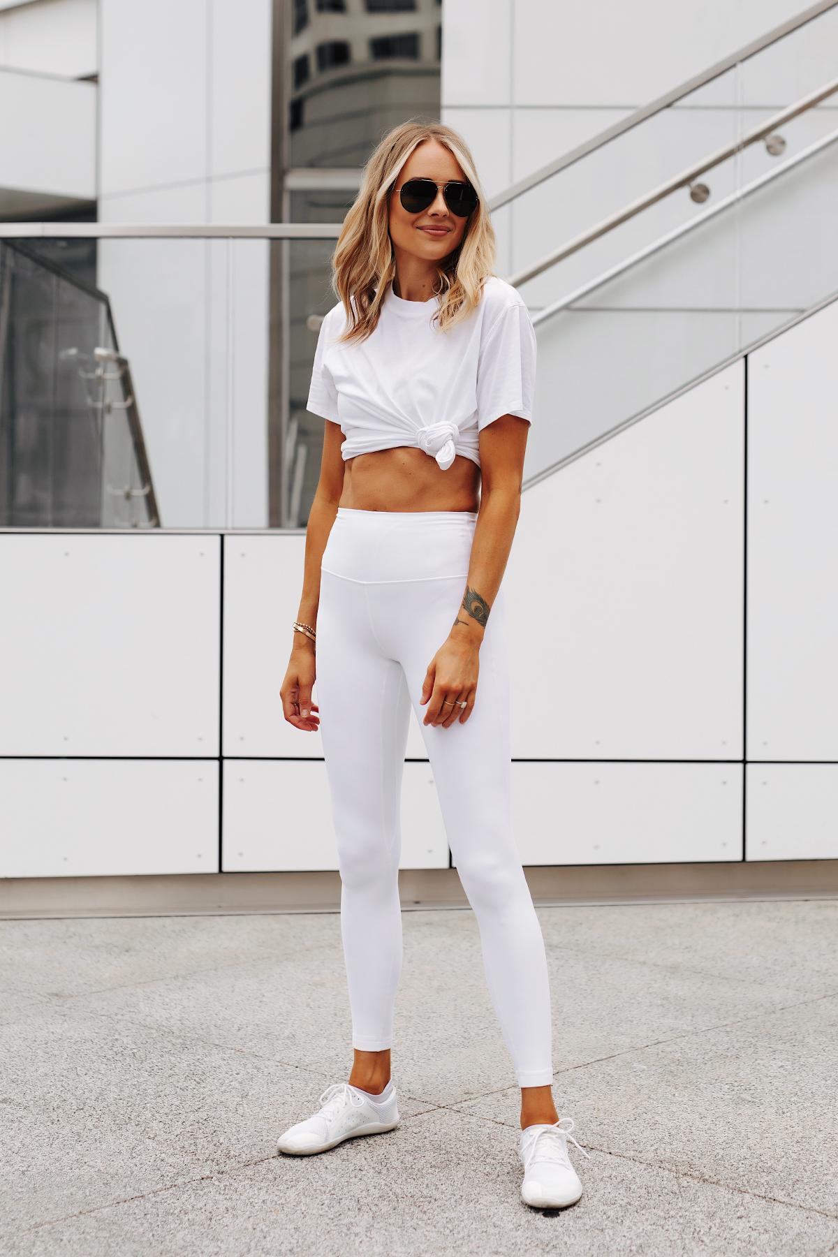 Fashion Jackson Wearing lululemon White Tshirt lululemon White Align Leggings White Vivo Barefoot Sneakers