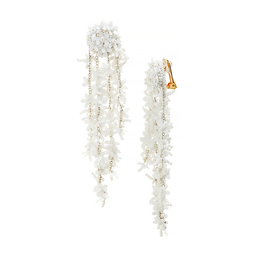 Oscar de la Renta White Beaded Earrings