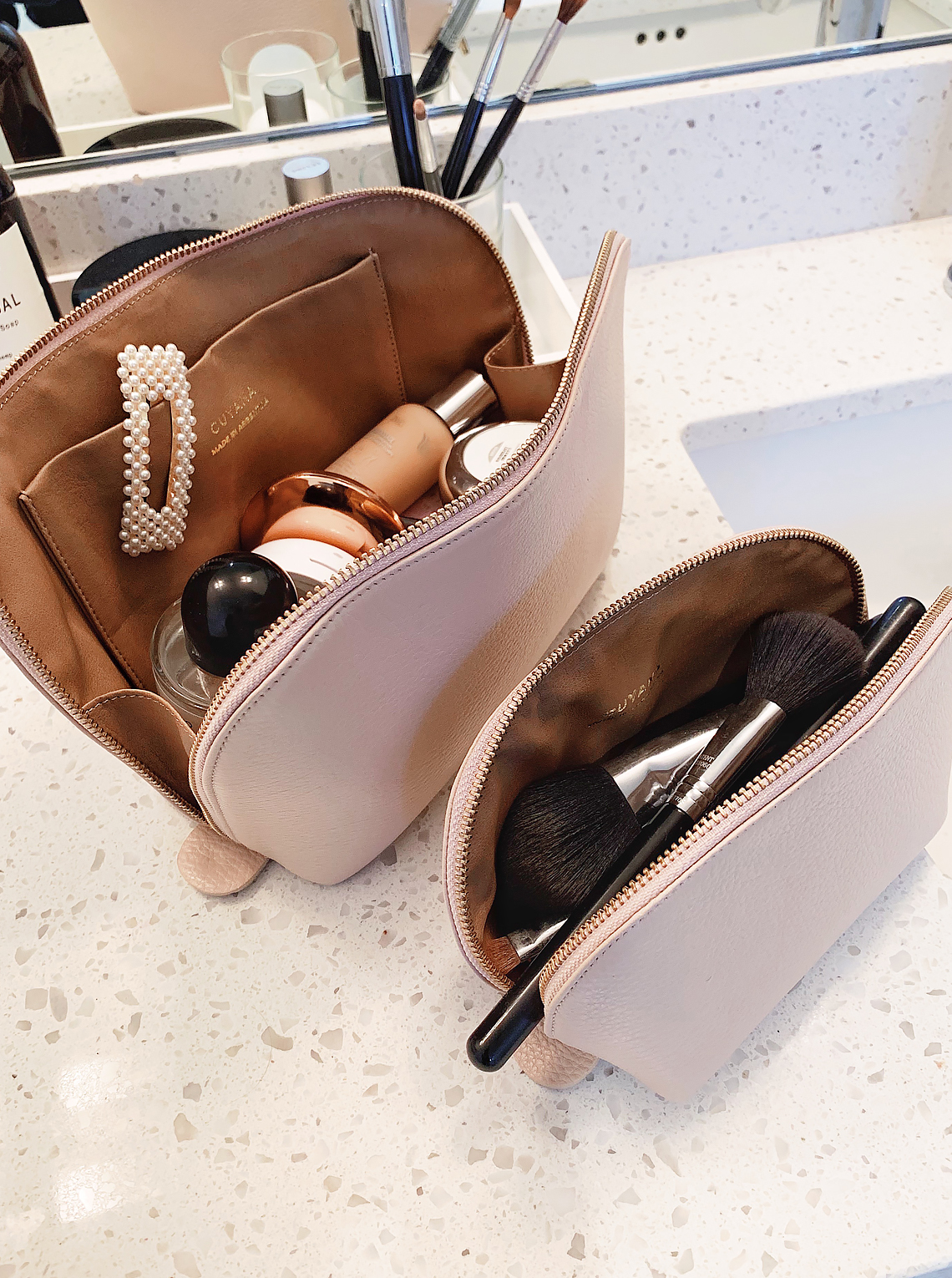 cuyana travel makeup bags
