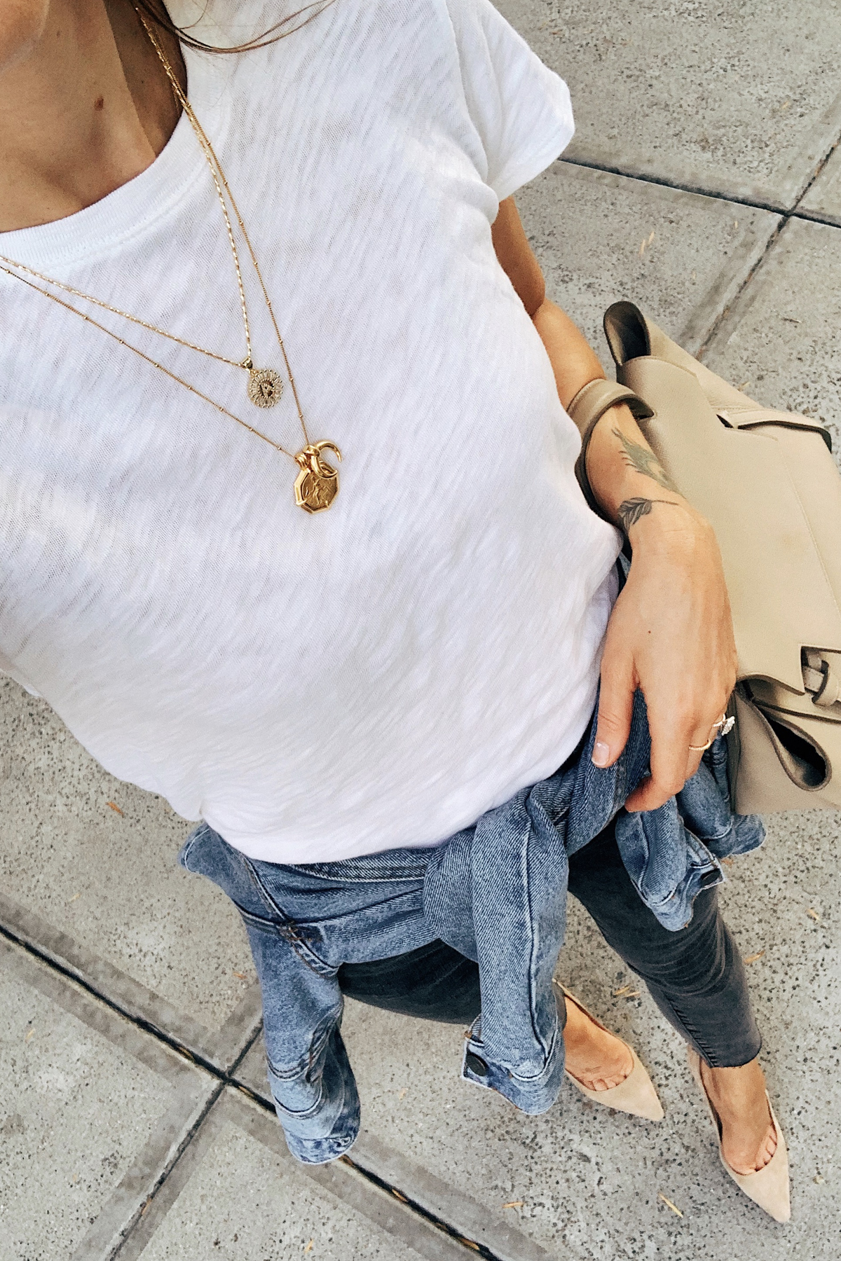ATM White Tshirt Denmim Jacket Black Skinny Jeans Gold Layered Necklaces