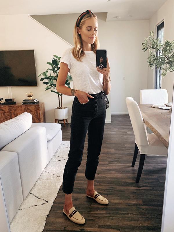 Fashion Jackson Wearing ATM White Tshirt Abercrombie Black Raw Hem Jeans Gucci Canvas Mules