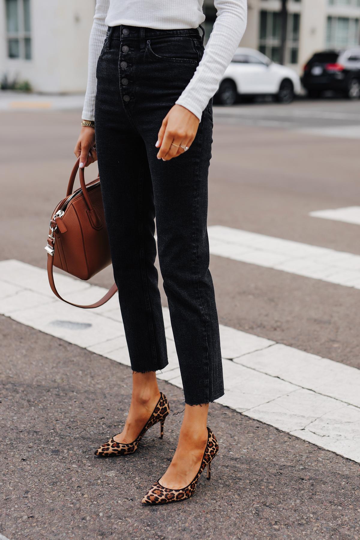 Fashion Jackson Wearing Abercrombie Black Button Front Raw Hem Mom Jeans Leopard Pumps