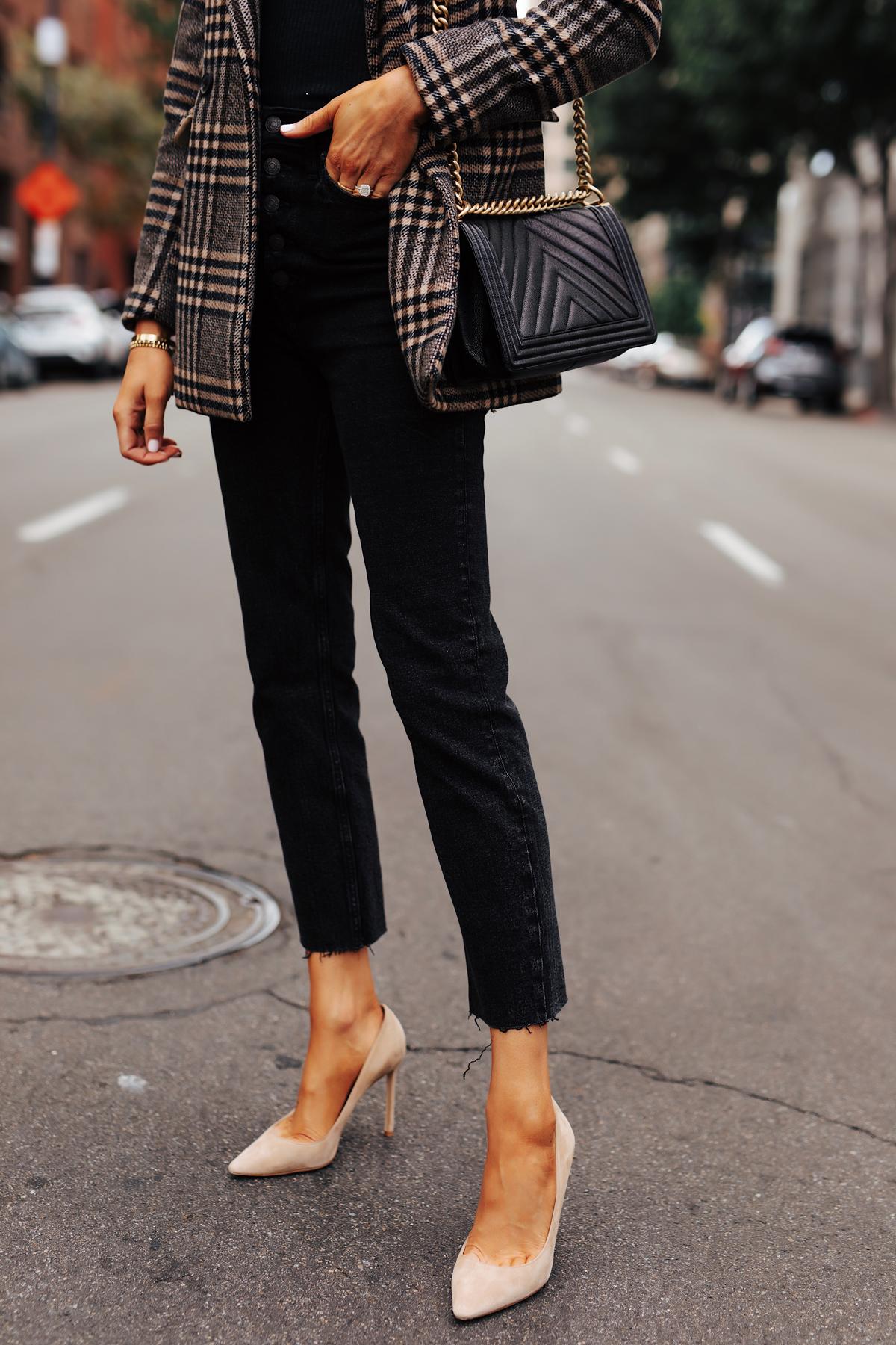 Fashion Jackson Wearing Abercrombie Wool Plaid Blazer Black Button Front Raw Hem Jeans Nude Pumps
