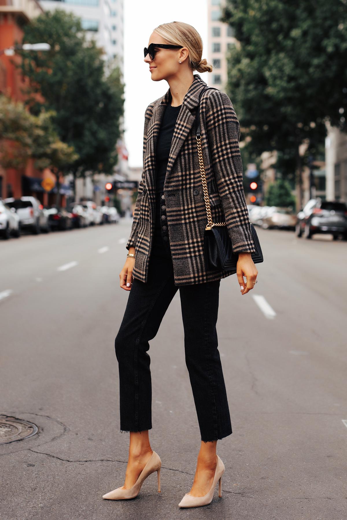 Fashion Jackson Wearing Abercrombie Wool Plaid Blazer Black Tshirt Black Raw Hem Jeans Fall Outfit
