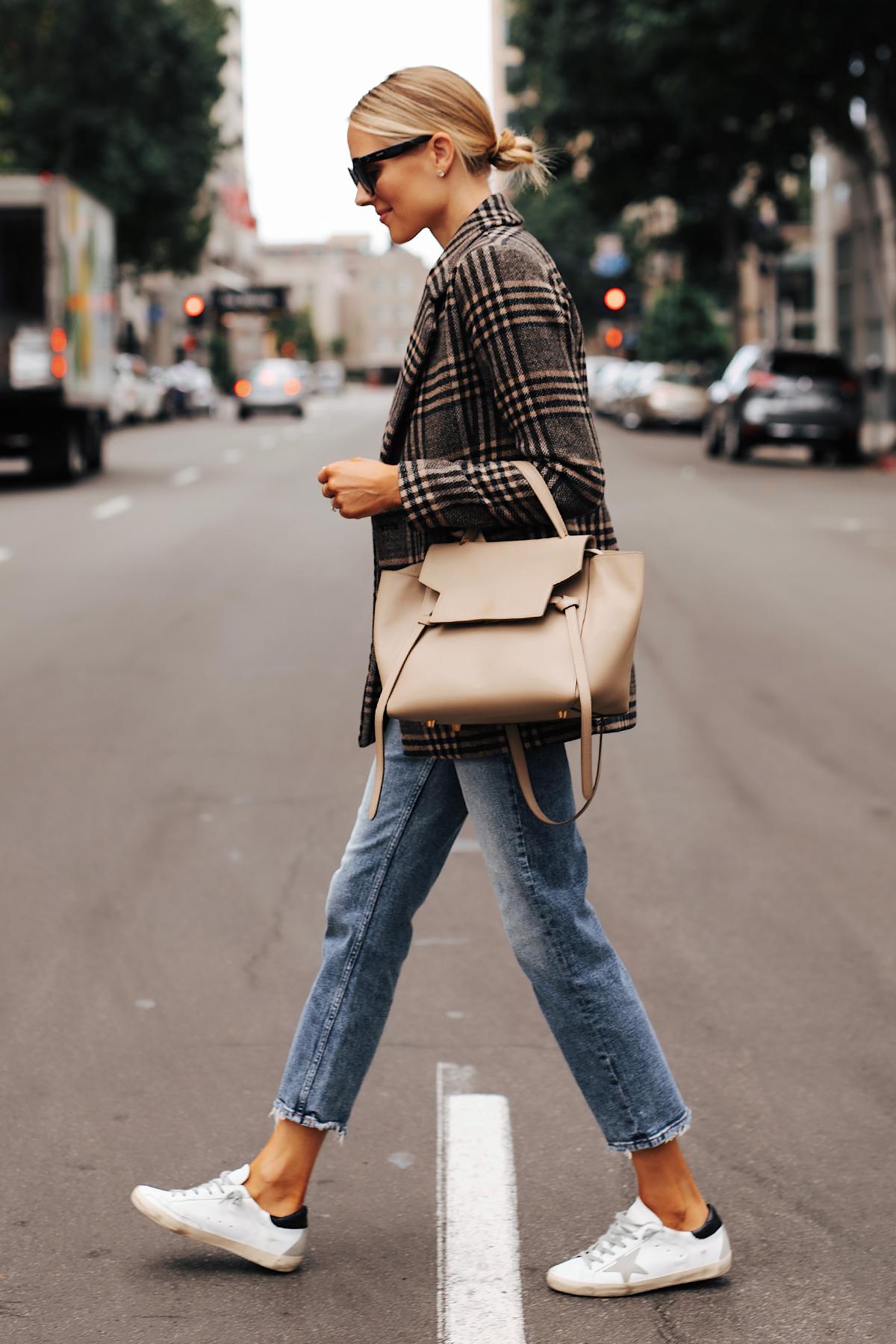 Fashion Jackson Wearing Abercrombie Wool Plaid Blazer Denim High Rise Jeans Golden Goose Sneakers Celine Mini Belt Bag
