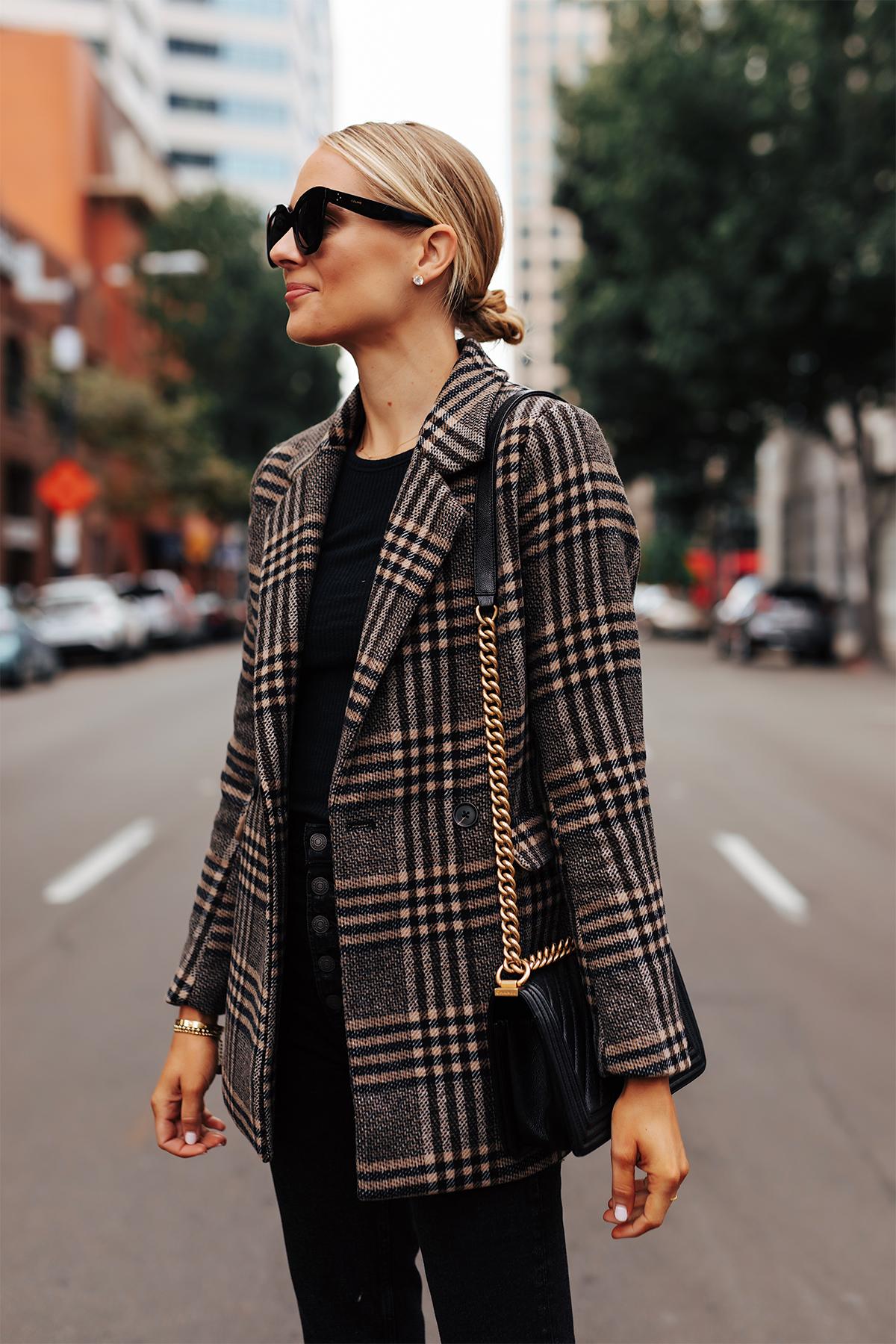 Fashion Jackson Wearing Abercrombie Wool Plaid Blazer Fall Outfit
