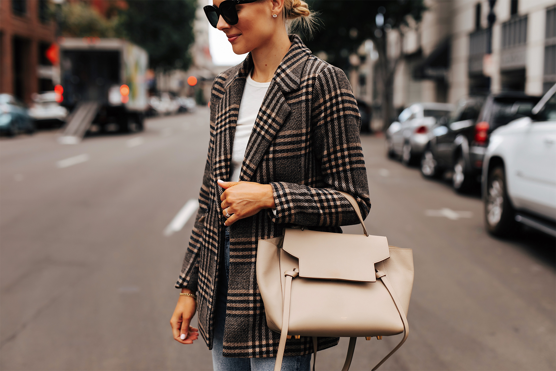 Fashion Jackson Wearing Abercrombie Wool Plaid Blazer White Tshirt Celine Mini Belt Bag 1