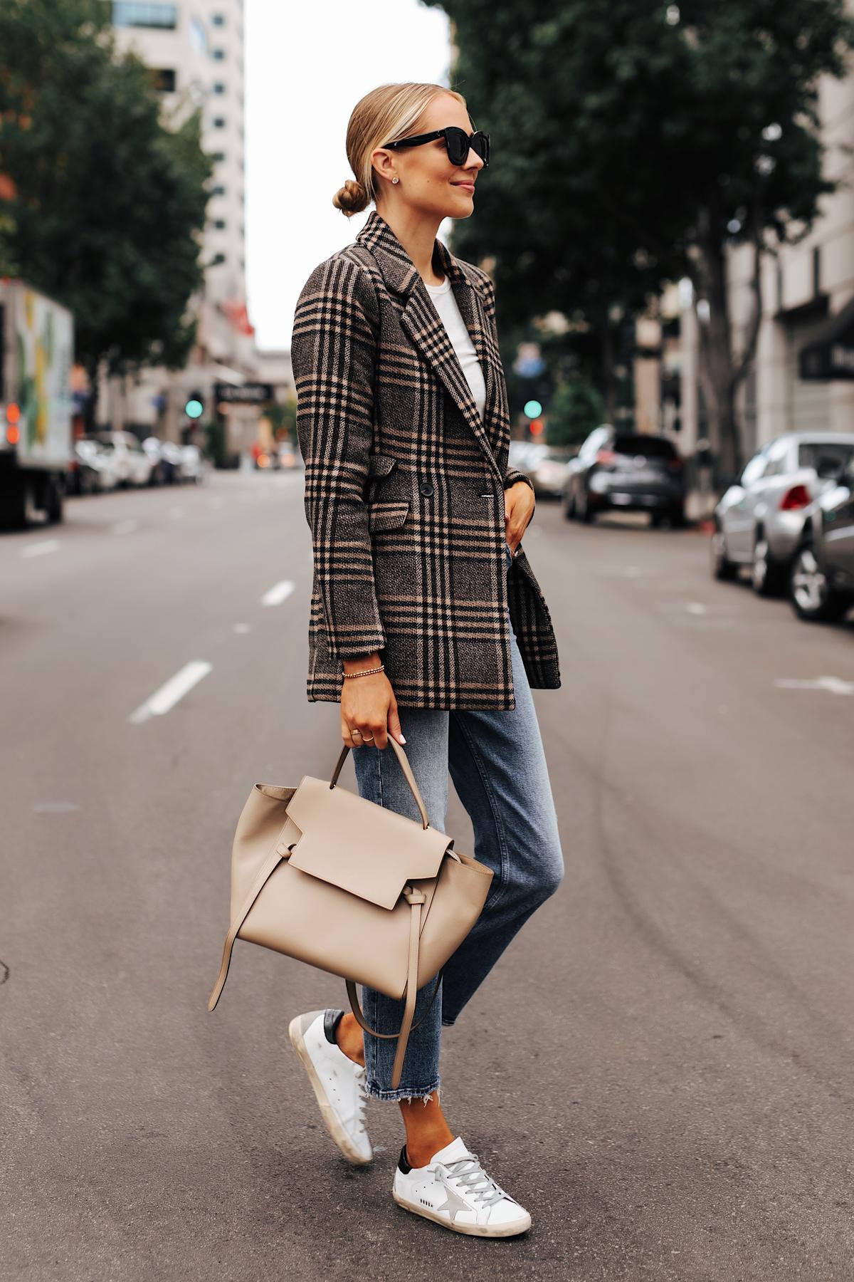 Fashion Jackson Wearing Abercrombie Wool Plaid Blazer White Tshirt Denim High Rise Jeans Golden Goose Sneakers Celine Mini Belt Bag 1