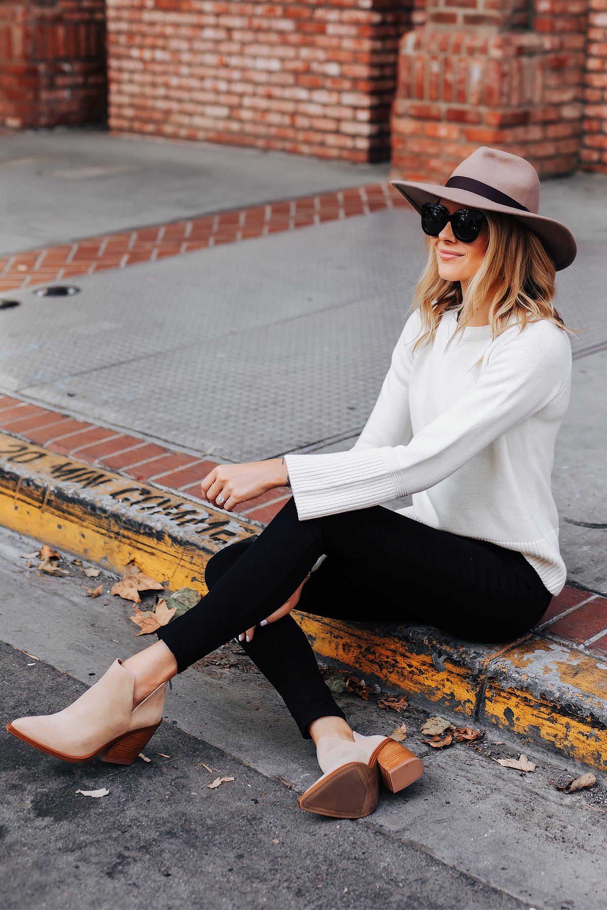 Fashion Jackson Wearing Ann Taylor Floppy Wool Hat Ann Taylor White Sweater Black Skinny Jeans Tan Booties Fall Outfit 1