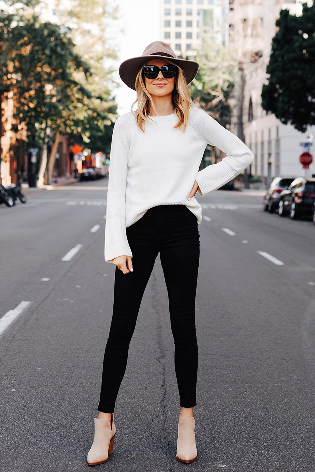 Fashion Jackson Wearing Ann Taylor Floppy Wool Hat Ann Taylor White Sweater Black Skinny Jeans Tan Booties