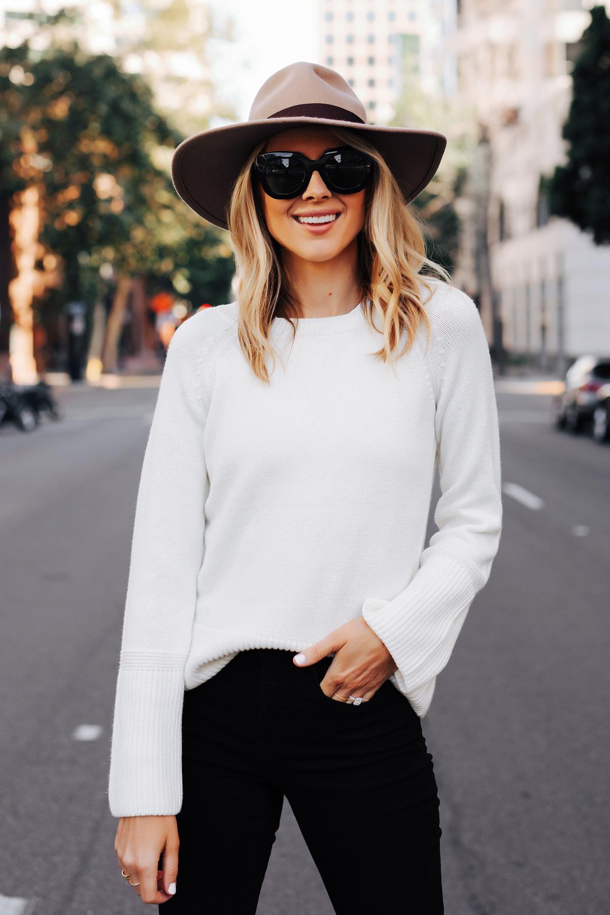 Fashion Jackson Wearing Ann Taylor Floppy Wool Hat Ann Taylor White Sweater Black Skinny Jeans