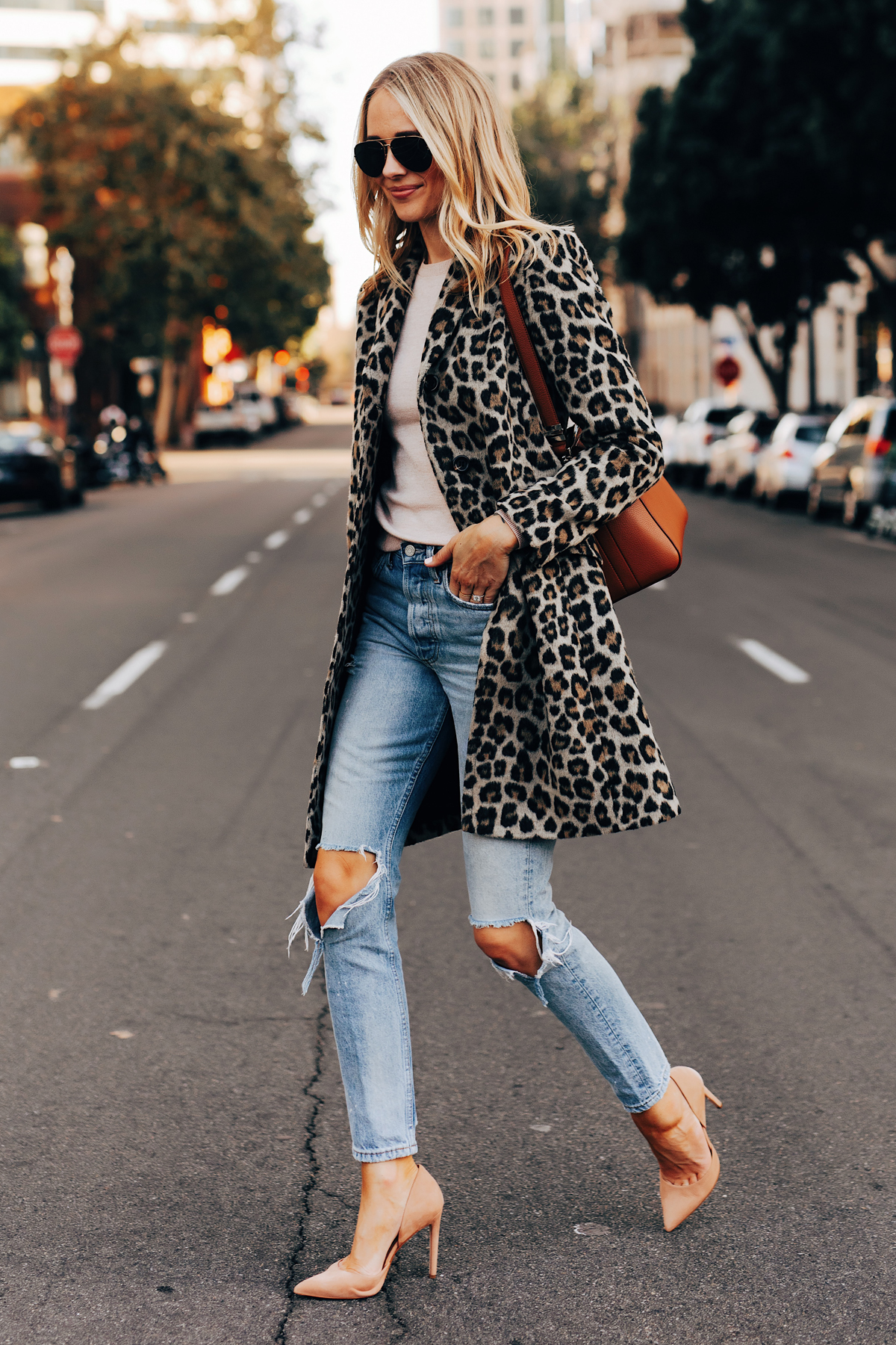 Fashion Jackson Wearing Ann Taylor Leopard Coat Boyish Ripped Jeans Nude Pumps Givenchy Antigona Cognac Satchel