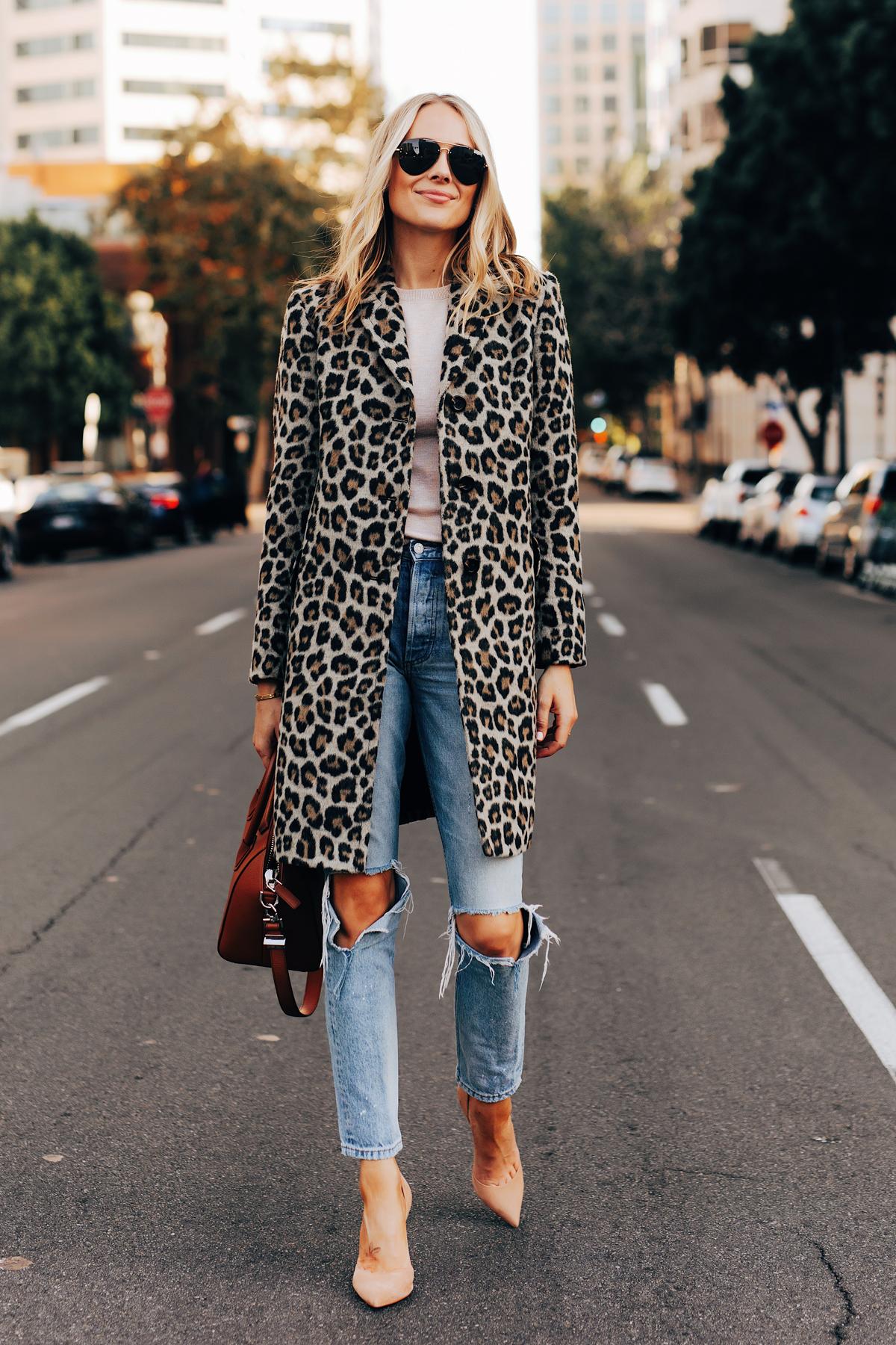 Fashion Jackson Wearing Ann Taylor Leopard Coat Boyish Ripped Jeans Nude Pumps