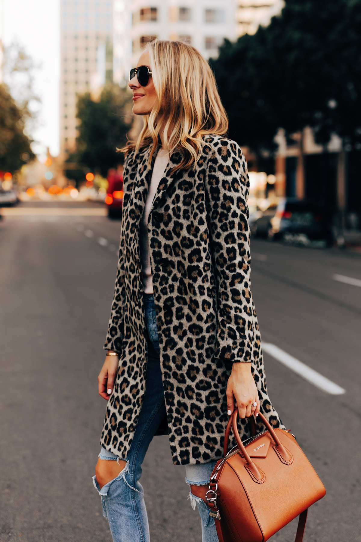 Fashion Jackson Wearing Ann Taylor Leopard Coat Givenchy Antigona Cognac Satchel Ripped Jeans