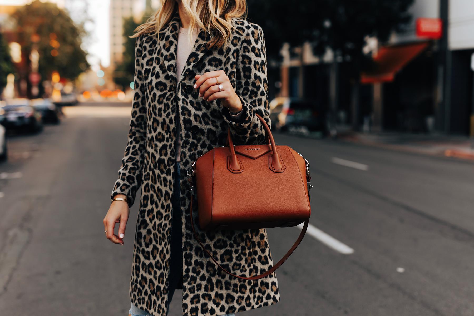 Fashion Jackson Wearing Ann Taylor Leopard Coat Givenchy Antigona Cognac Satchel