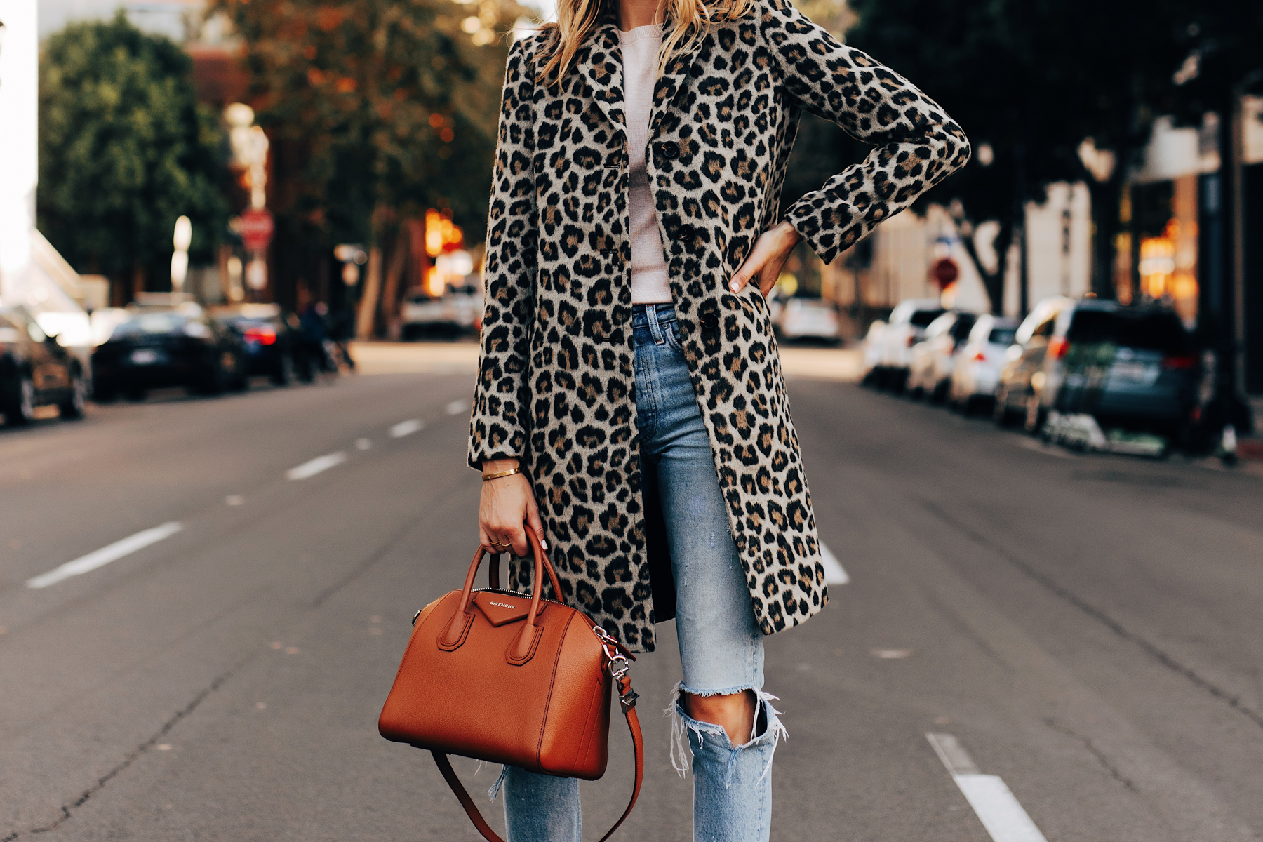 Fashion Jackson Wearing Ann Taylor Leopard Coat Ripped Jeans Givenchy Antigona Cognac Satchel 1