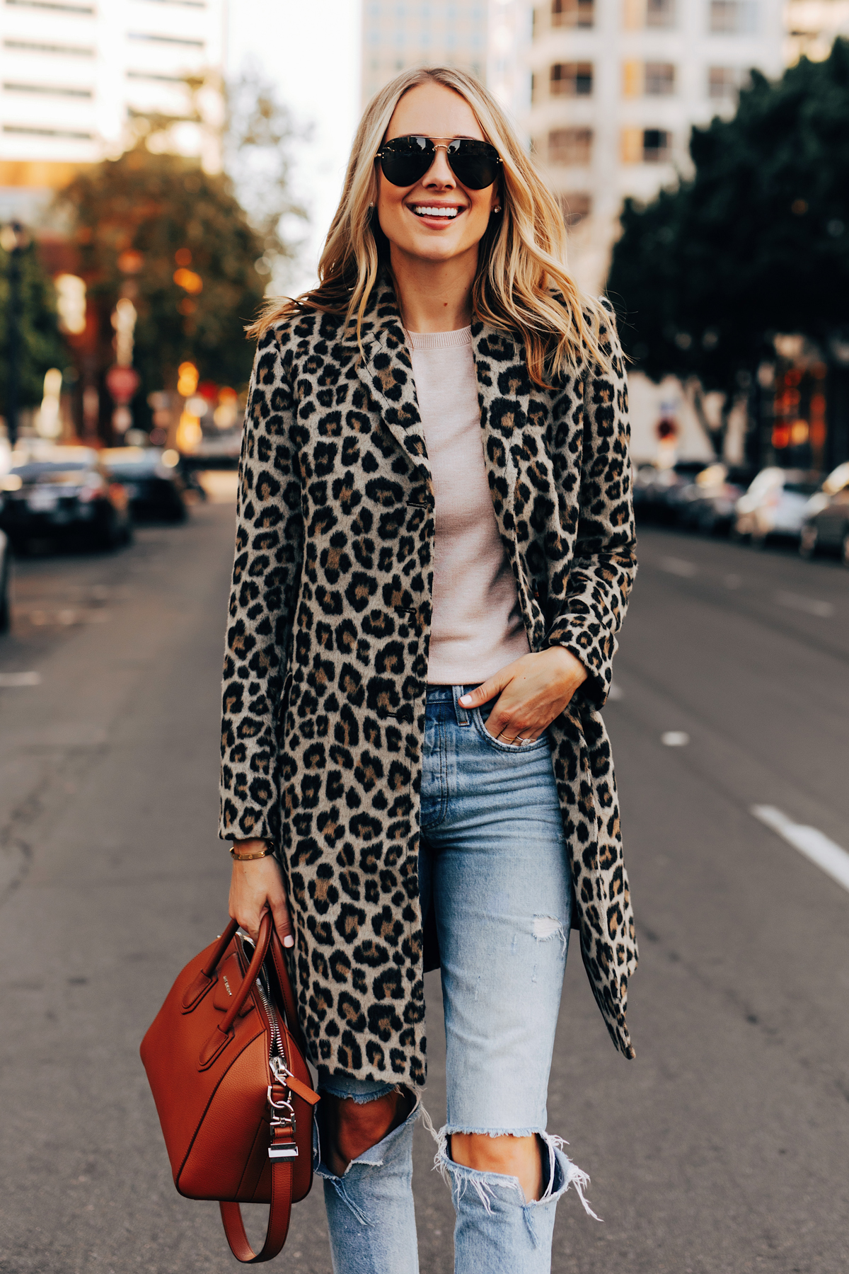 Fashion Jackson Wearing Ann Taylor Leopard Coat Ripped Jeans Givenchy Antigona Cognac Satchel