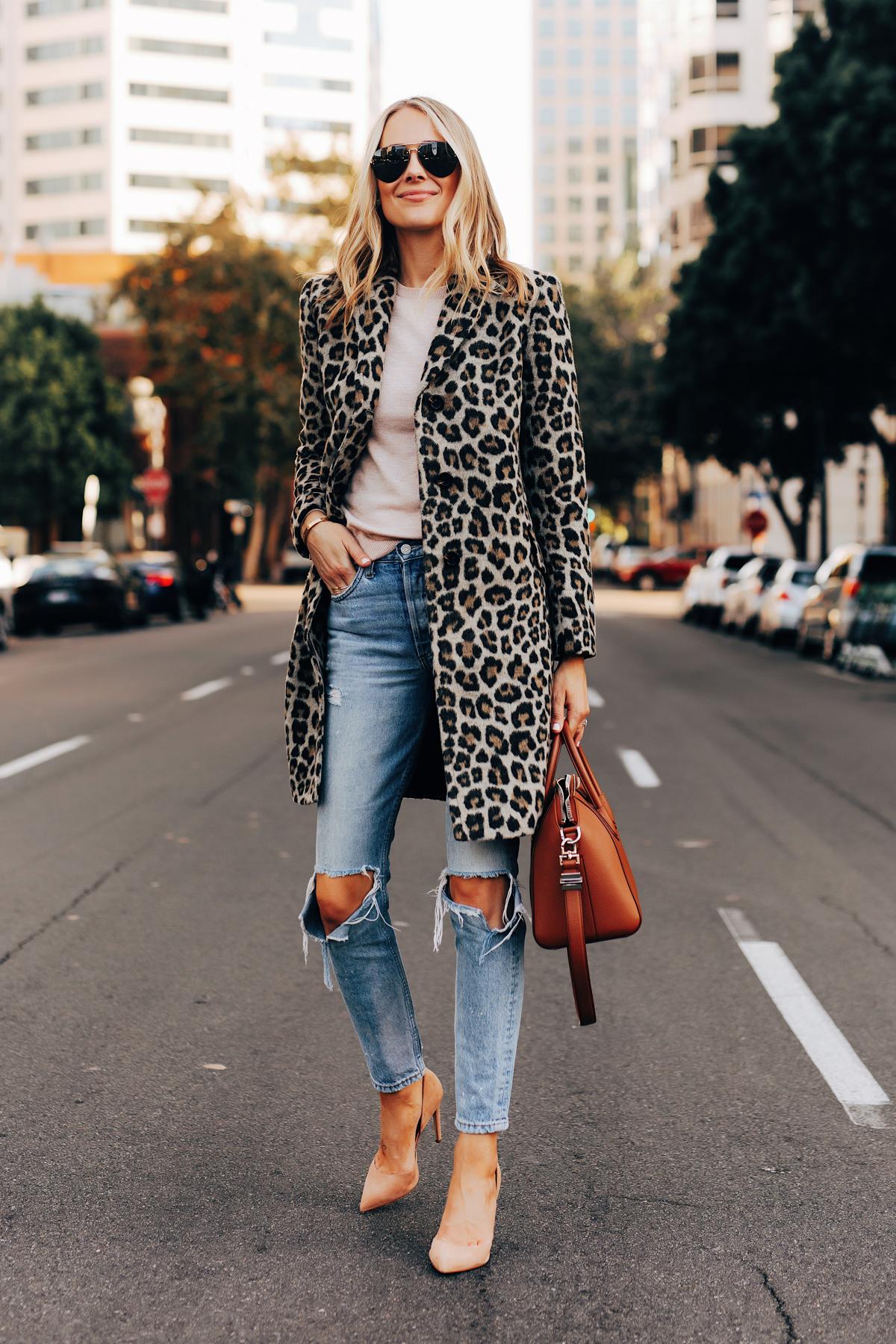 Fashion Jackson Wearing Ann Taylor Leopard Coat Ripped Jeans Nude Pumps Givenchy Antigona Cognac Satchel 1