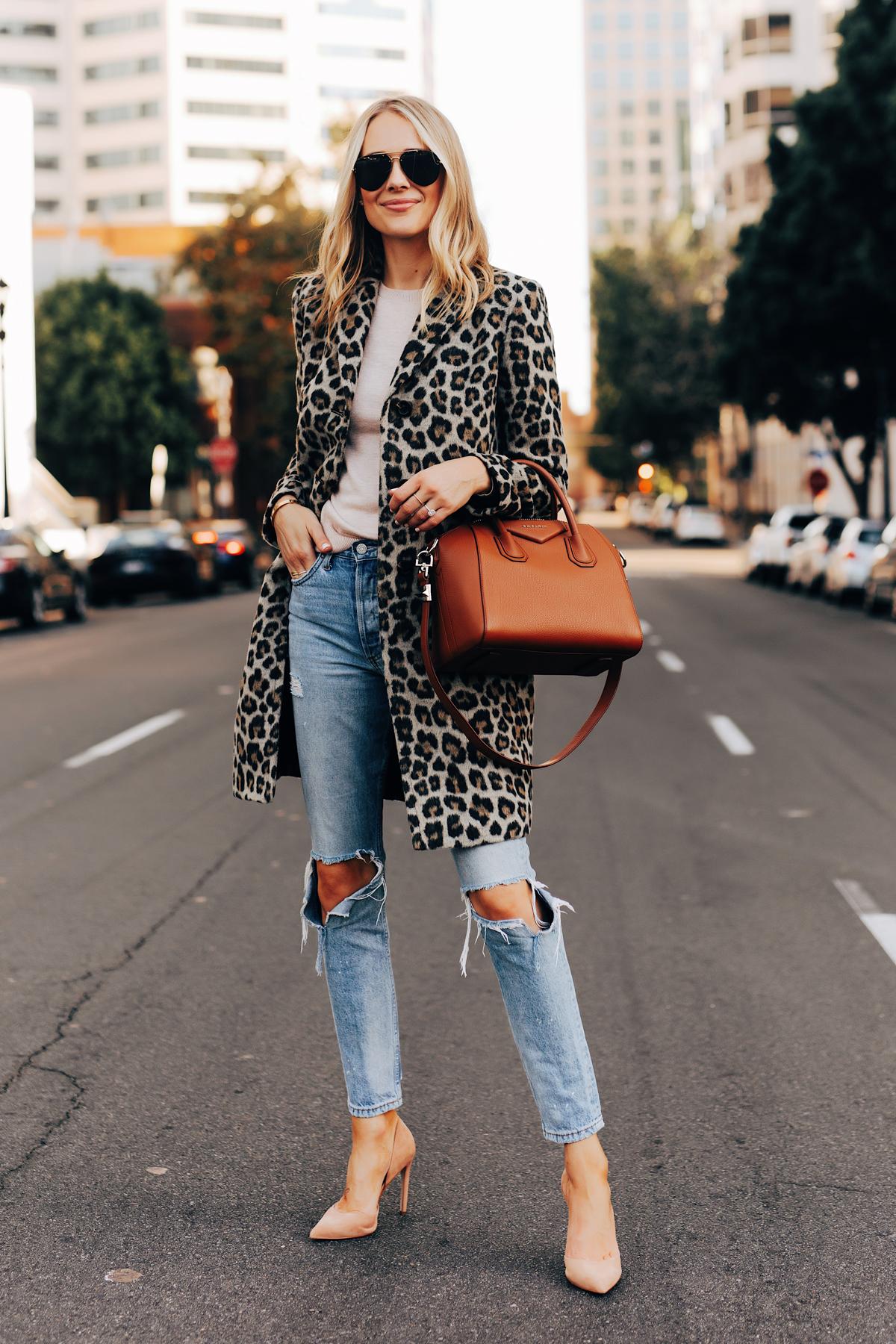 Fashion Jackson Wearing Ann Taylor Leopard Coat Ripped Jeans Nude Pumps Givenchy Antigona Cognac Satchel 2