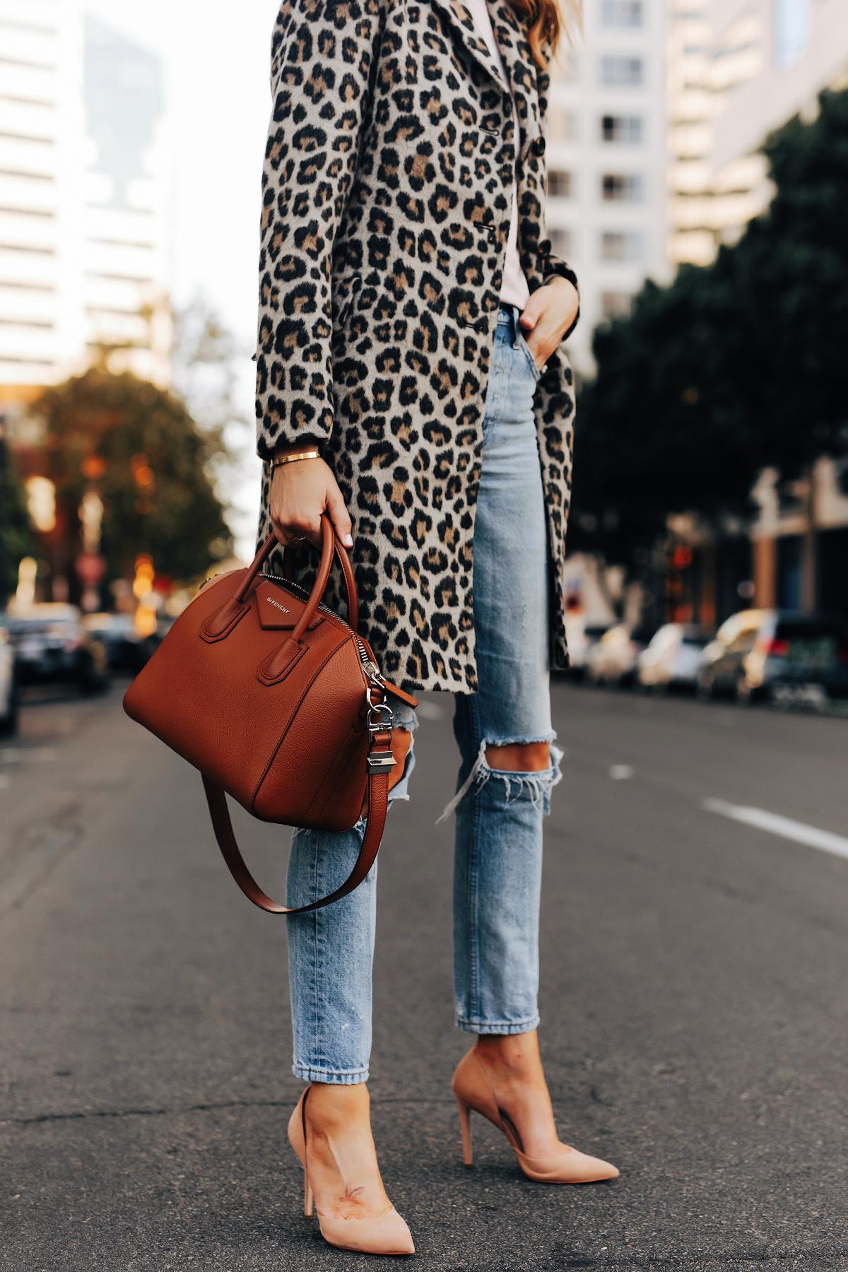 Fashion Jackson Wearing Ann Taylor Leopard Coat Ripped Jeans Nude Pumps Givenchy Antigona Cognac Satchel