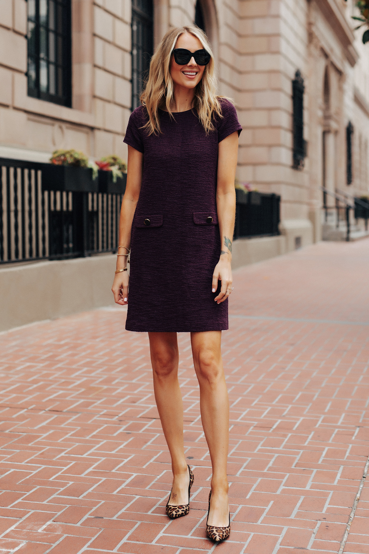Fashion Jackson Wearing Ann Taylor Plum Tweed Shift Dress Leopard Pumps Fall Workwear Outfit