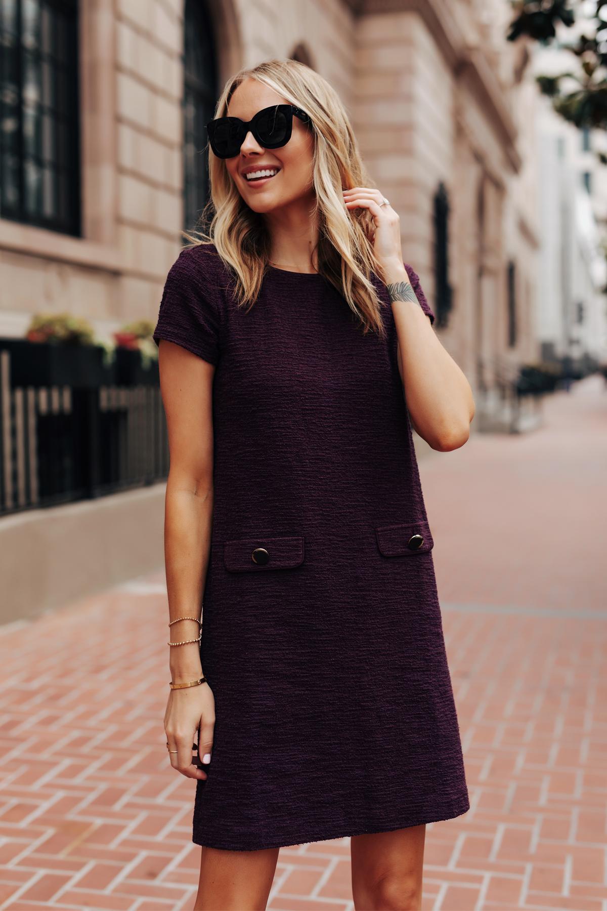 Fashion Jackson Wearing Ann Taylor Purple Tweed Shift Dress Fall Workwear Outfit