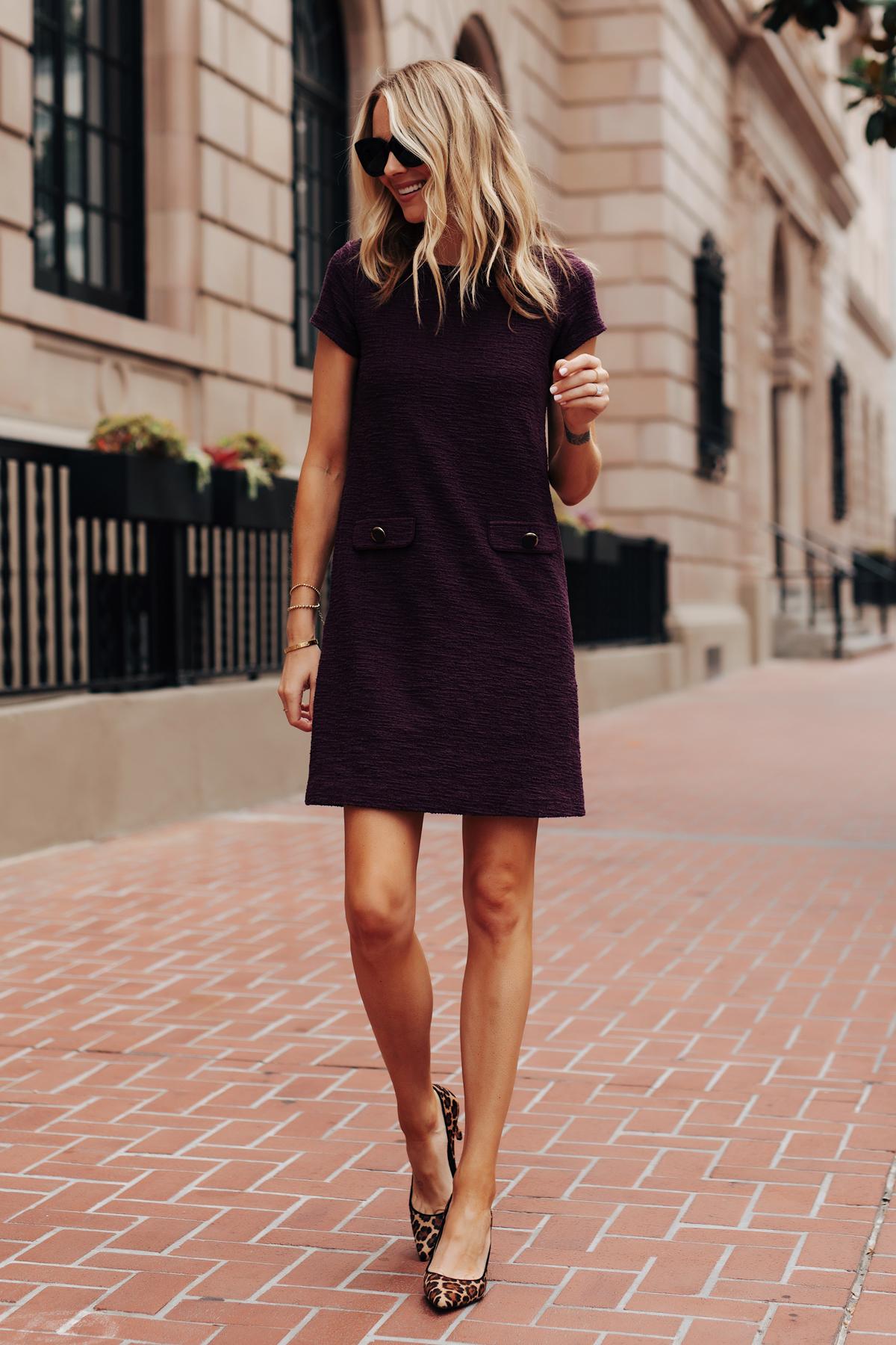 Fashion Jackson Wearing Ann Taylor Purple Tweed Shift Dress Leopard Pumps Fall Workwear Outfit
